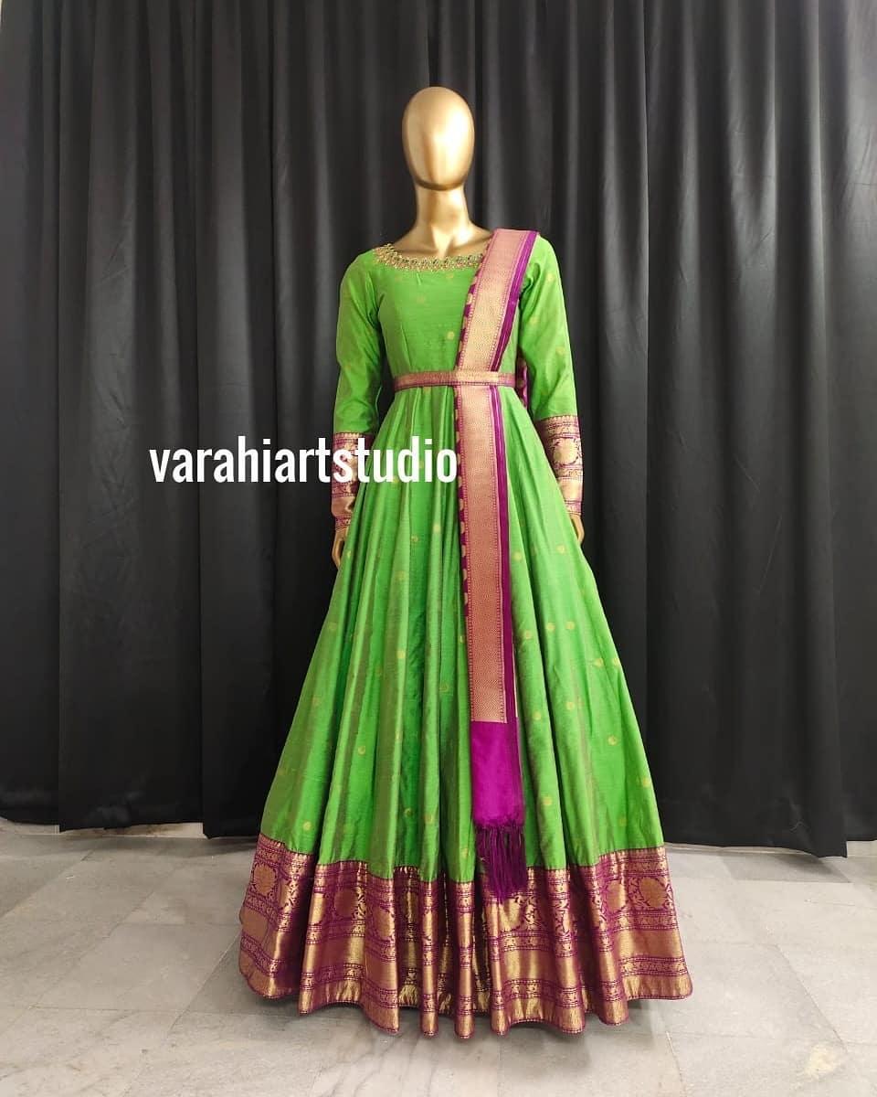 Gorgeous parrot green color pattu long frock with waist belt and pattu dupatta.  2021-05-26