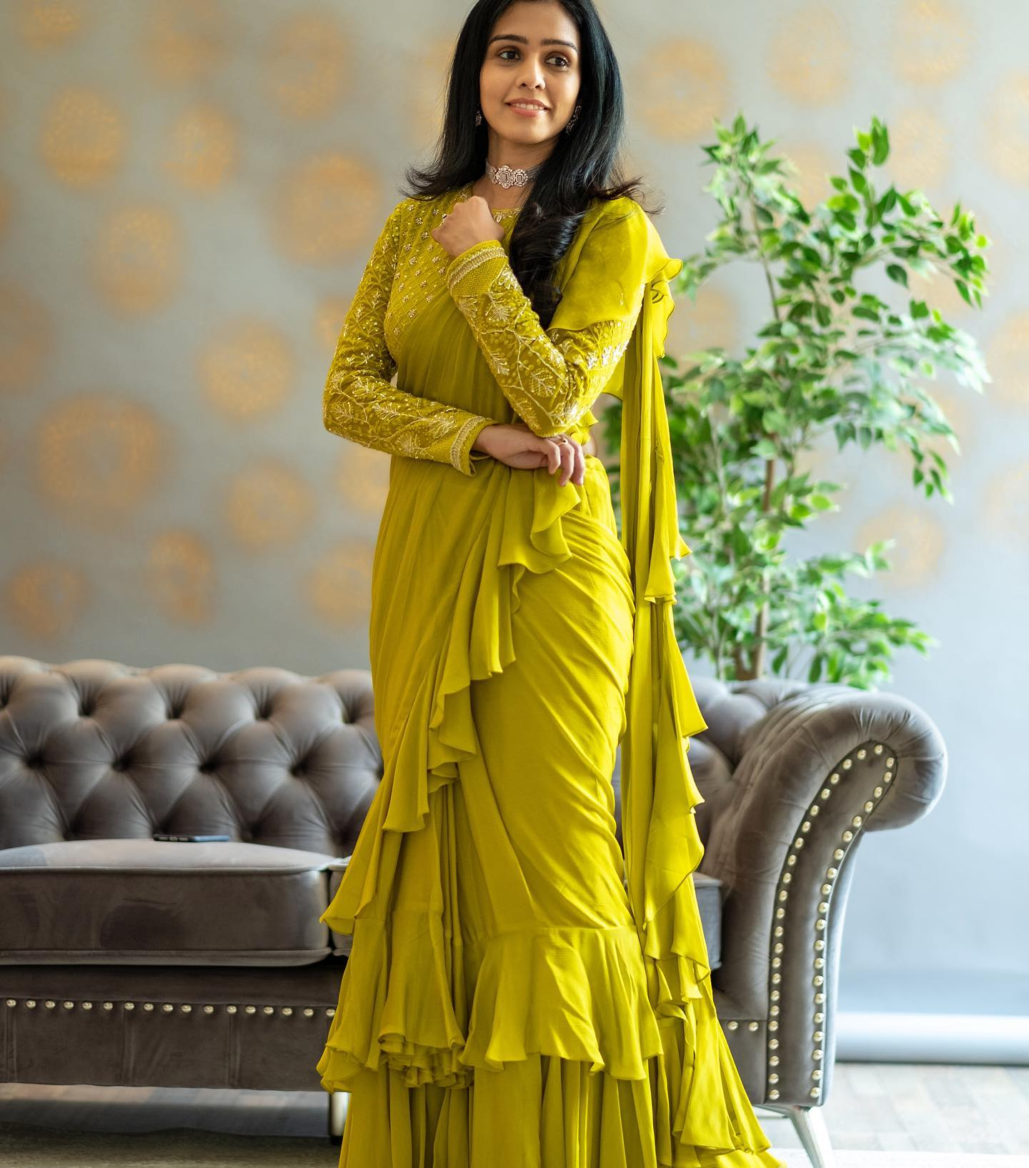 Beautiful radium green color ruffle saree and full sleeve blouse with hand embroidery work.   2021-05-27