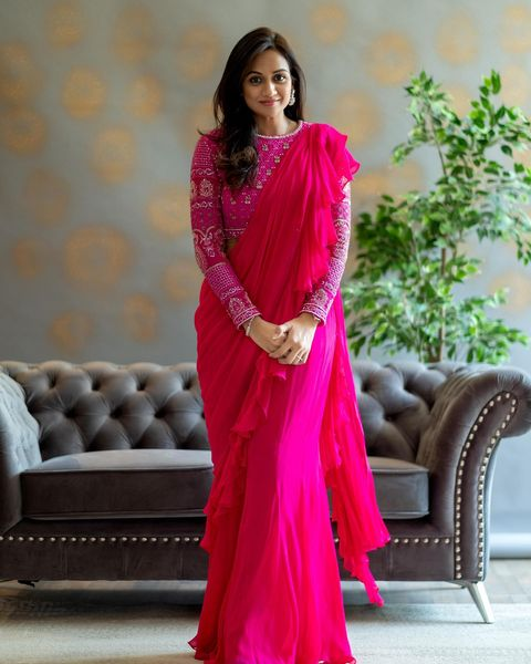 Beautiful pink color ruffle saree and full sleeve blouse with hand embroidery work.   2021-05-27