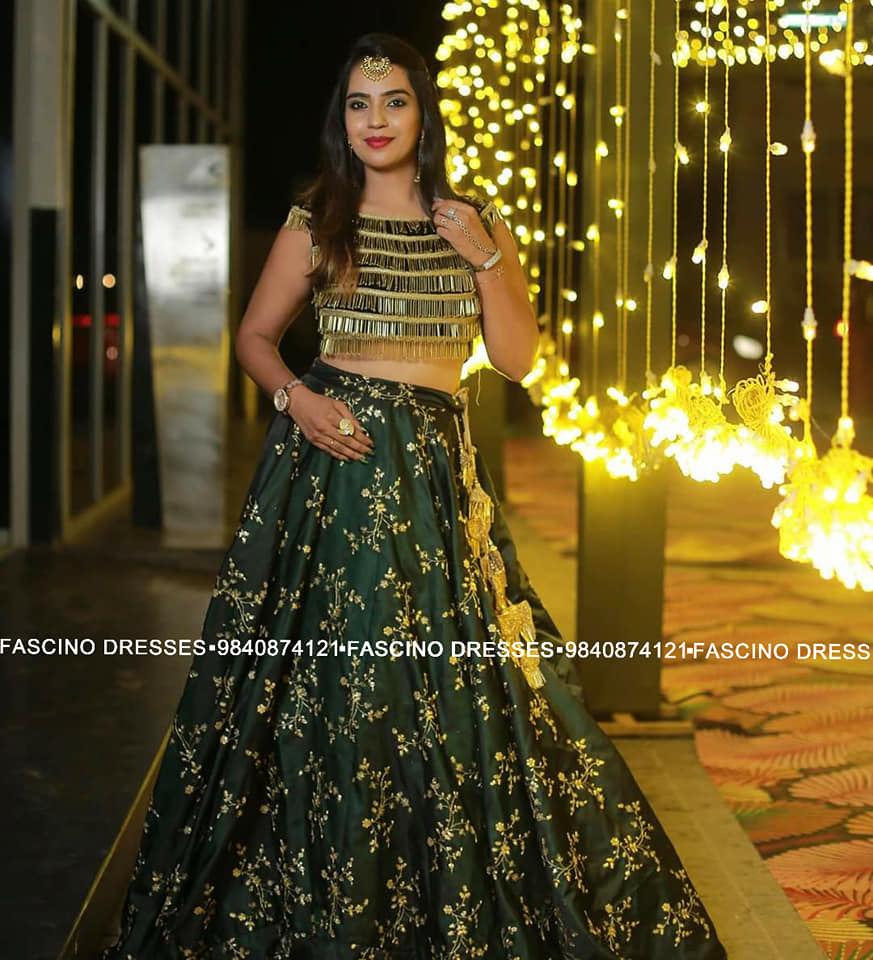 A royal bottle green embroidery Lehenga with a tassel blouse. A Fascino Creation . Fascino Bridals . Wats app or inbox to order 9840874121 2021-05-27