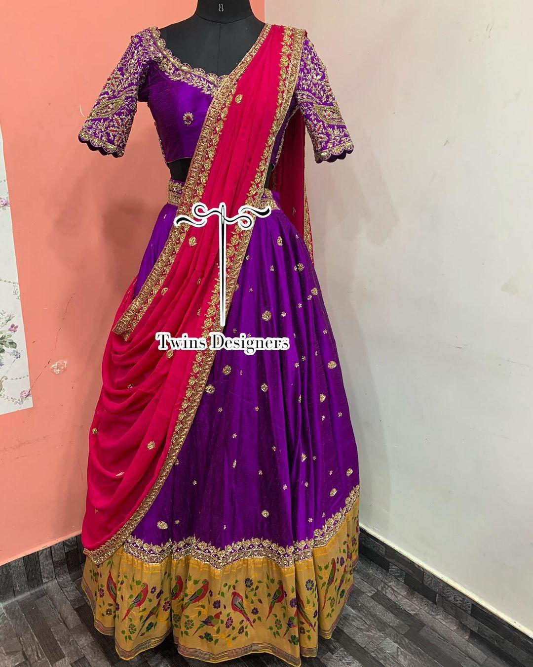 Gorgeous purple color bridal lehenga set. Bridal lehenga with parrots paithani boarder. blouse with hand embroidery work.  2021-05-27