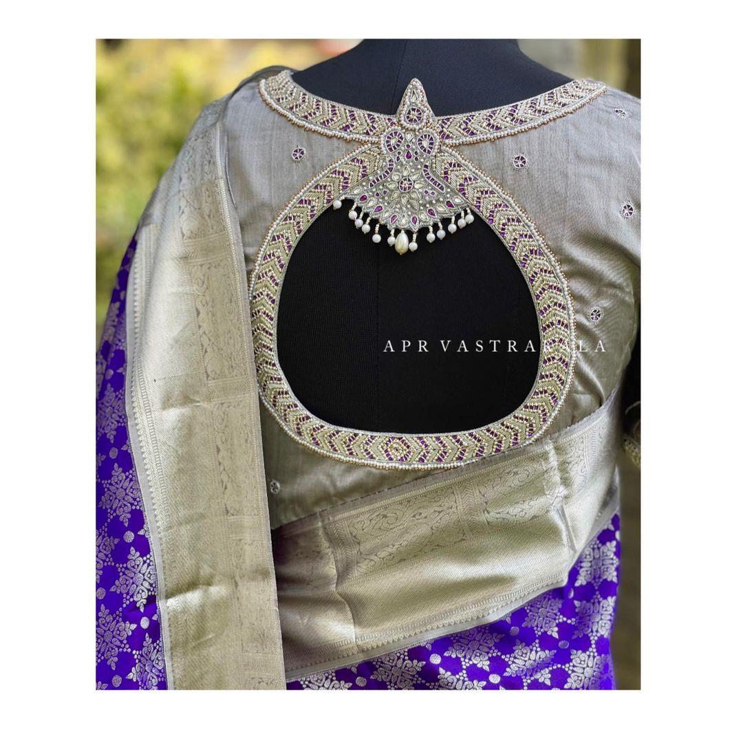 Elegant work done on these Kanchipuram blouse..!!