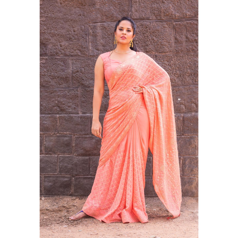 You have a Peach of my heart . Beautiful actress Anasuya in peach saree.  2021-05-28
