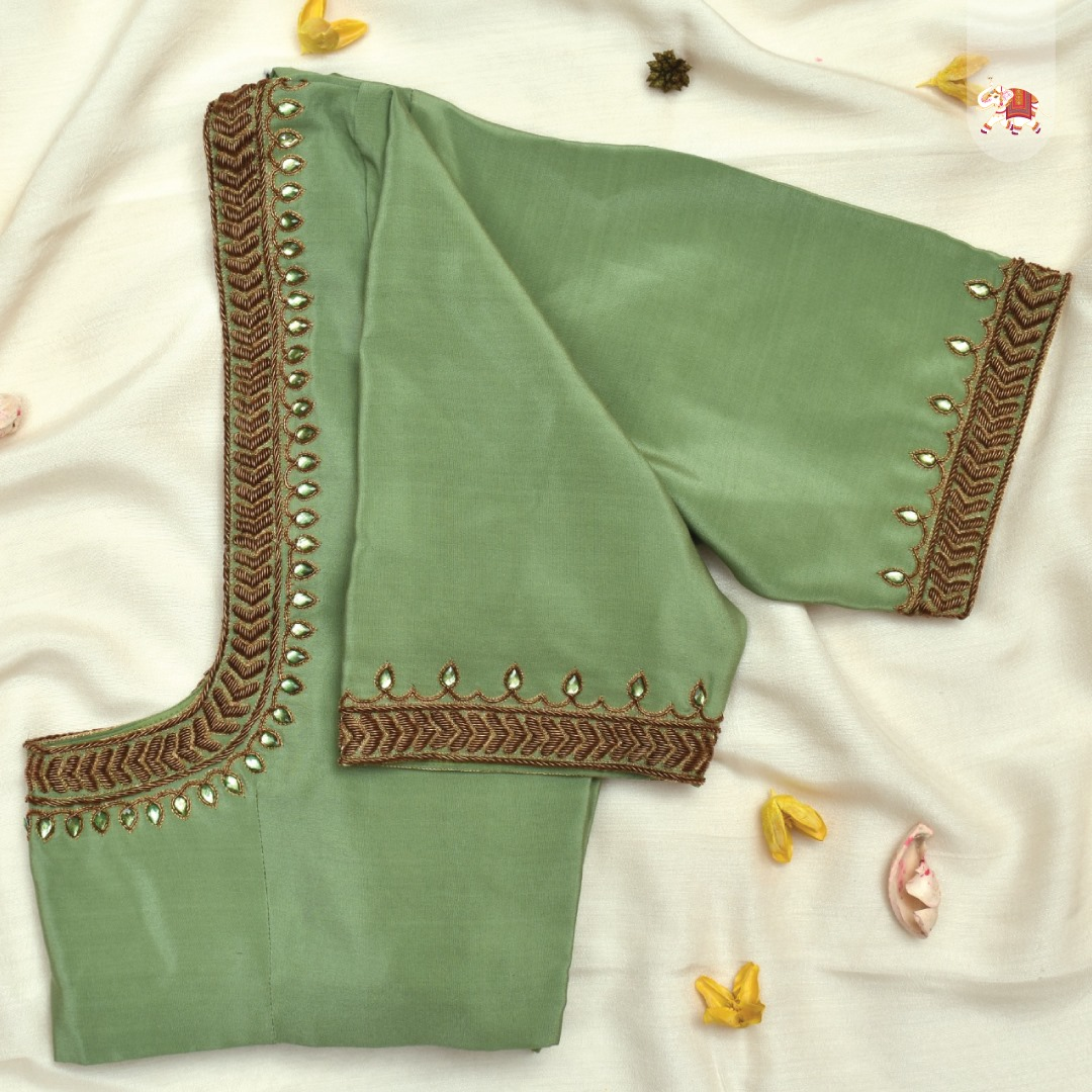 Customisation at its best! pastel green Kanchi silk blouse with minimal zardozi embroidery details.  2021-05-28