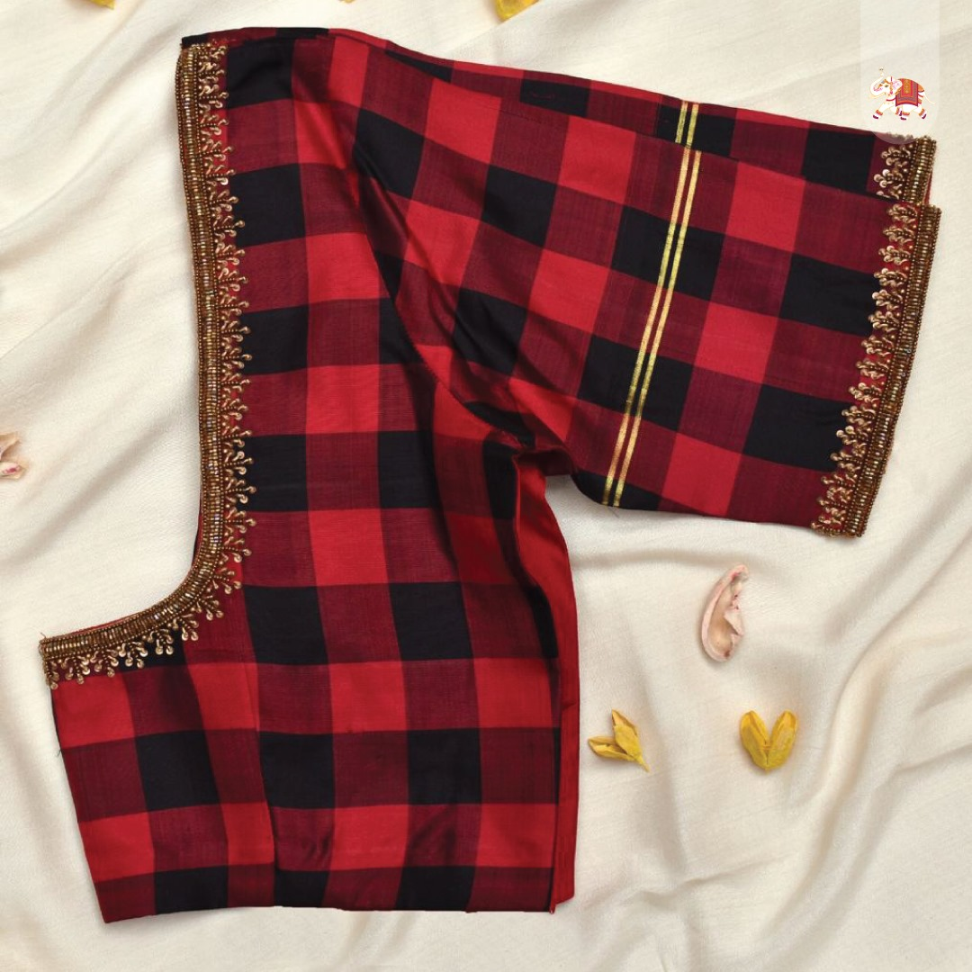 Customisation at its best! exquisite black & red checked Kanchi silk blouse with minimal zardozi embroidery. 2021-05-28