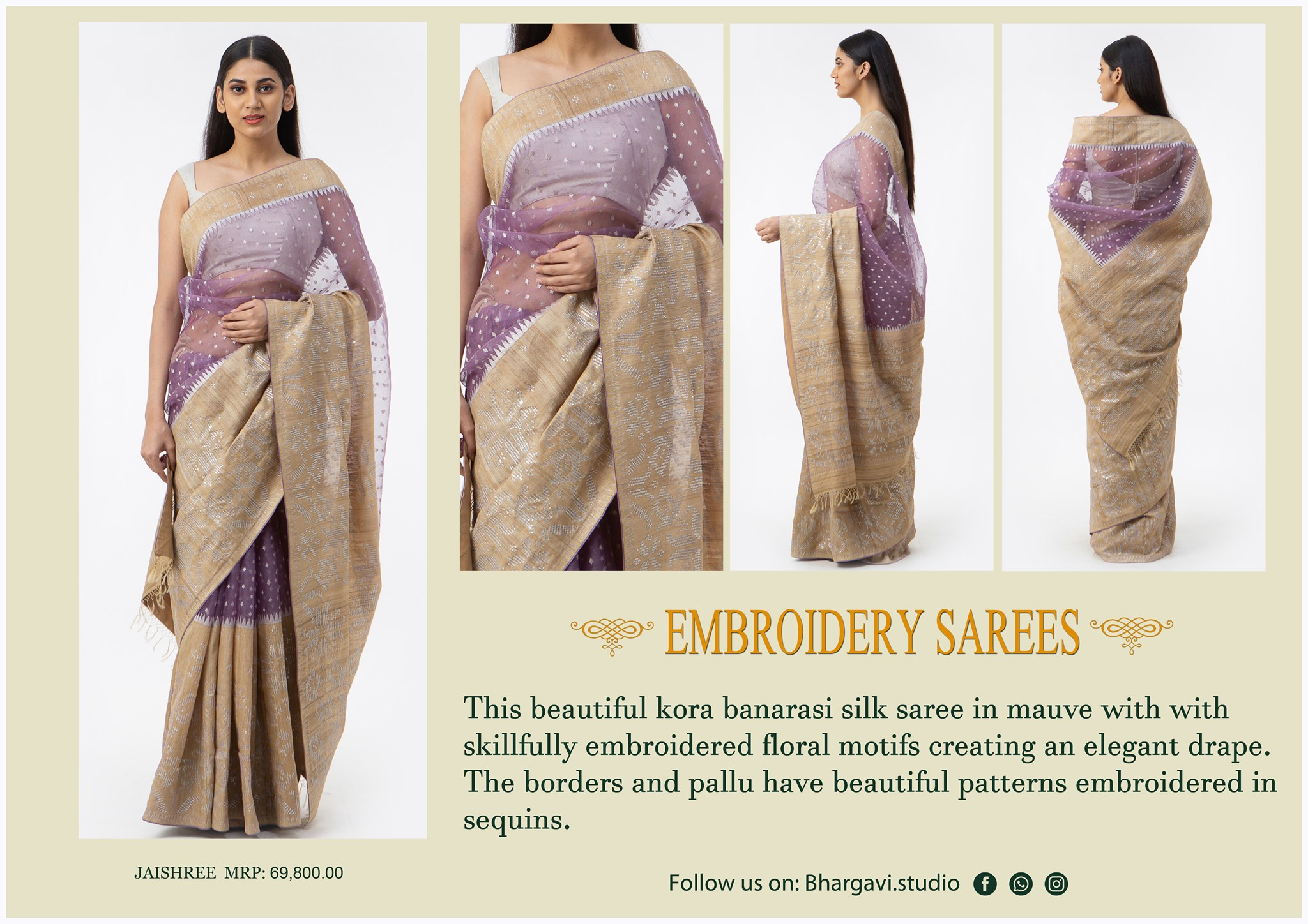 This beautiful kora benaras silk saree in mauve with skillfully embroidered floral motifs creating and elegant drape. The boarders and pallu have beautiful patterns embroidered in sequins.    2021-05-28