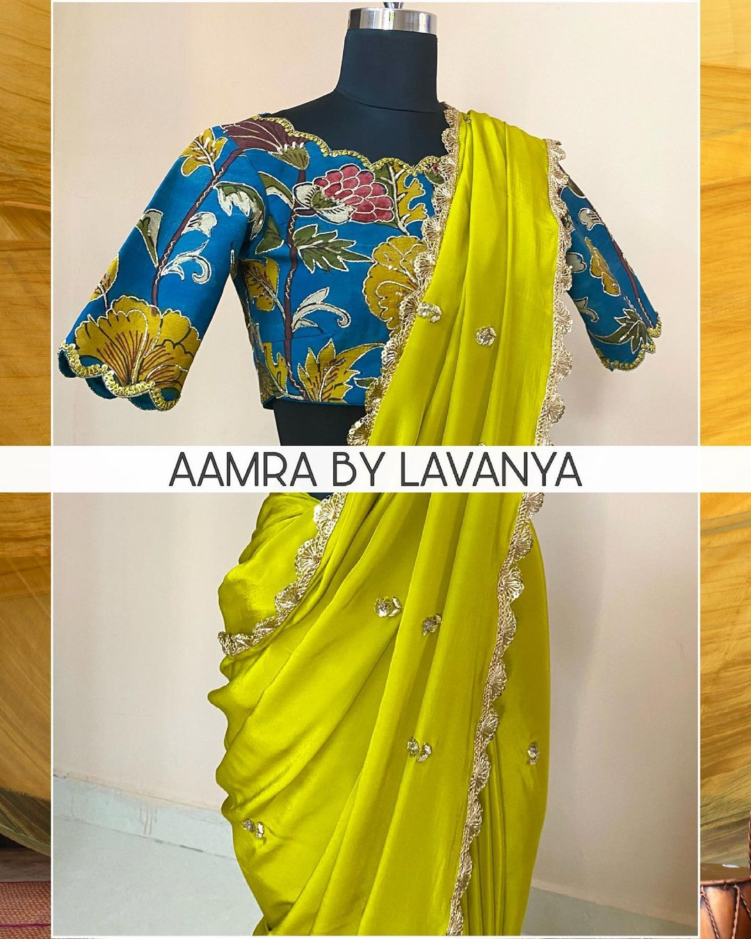 ~QALAM~ Hand painted & hand embroidered pen kalamkari silk blouse paired with an all over hand embroidered buti work saree. For orders and queries call/whatsapp on +91-9177363970 2021-05-28