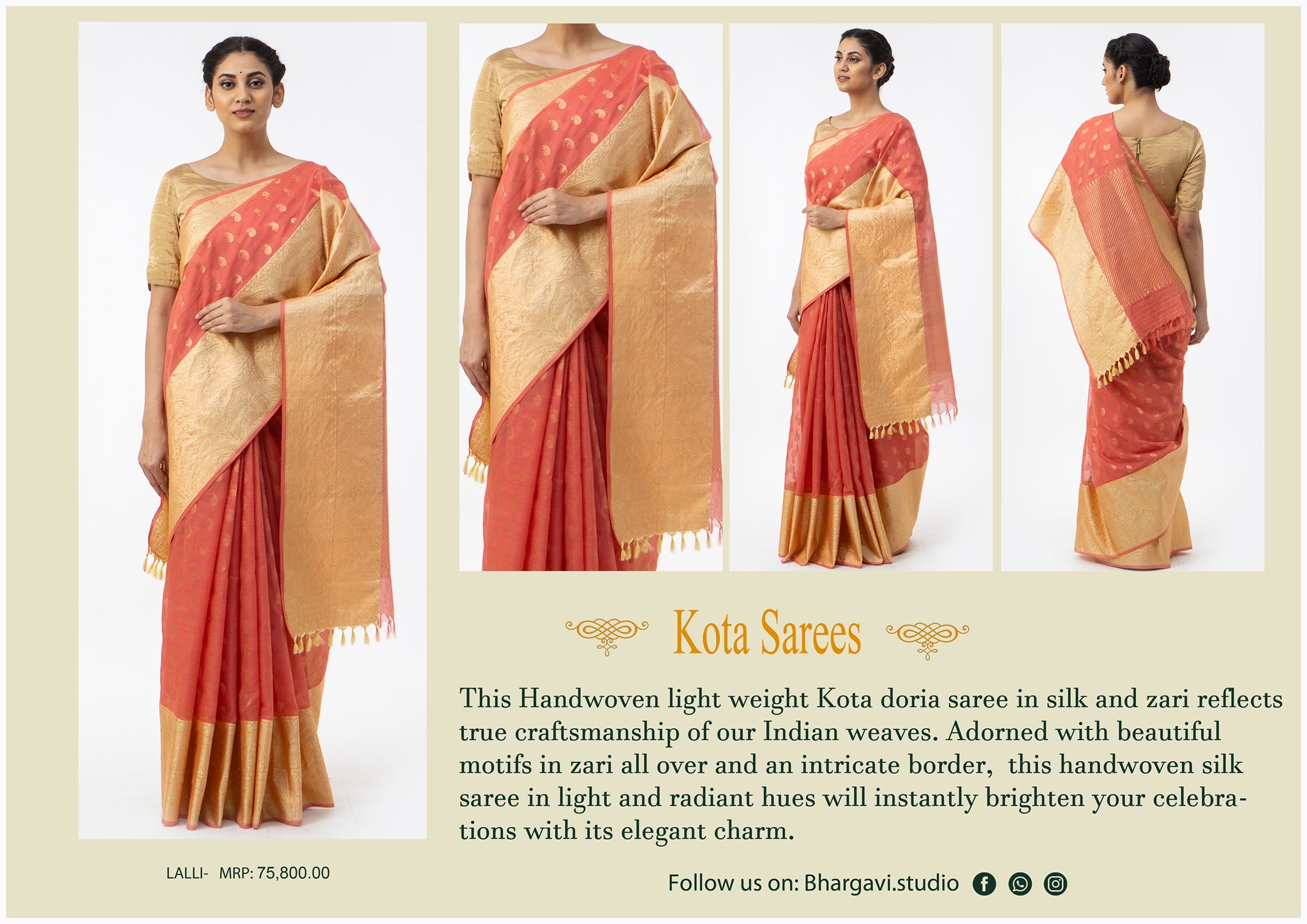 This handwoven light weight  kota doria saree in silk and zari reflects true craftsmanship of our indian waves. Adorned with beautiful motif in zari all over and intricate boarder.     2021-05-29