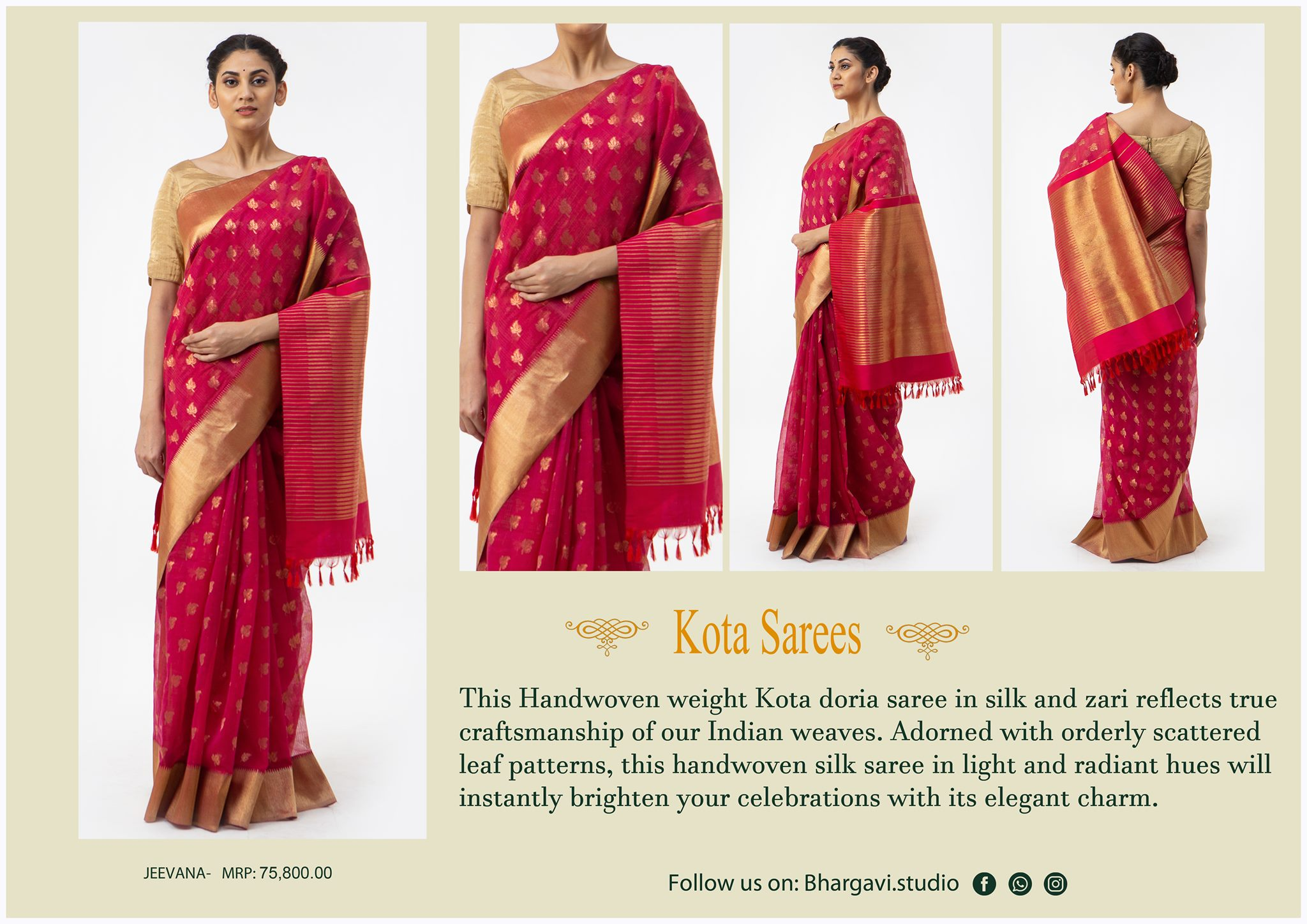 This handwoven light weight  kota doria saree in silk and zari reflects true craftsmanship of our indian waves. Adorned with orderly scattered leaf patterns this handwoven silk saree in light and radiant hues will instantly brighten your celebrations with its elegant charm. 2021-05-29