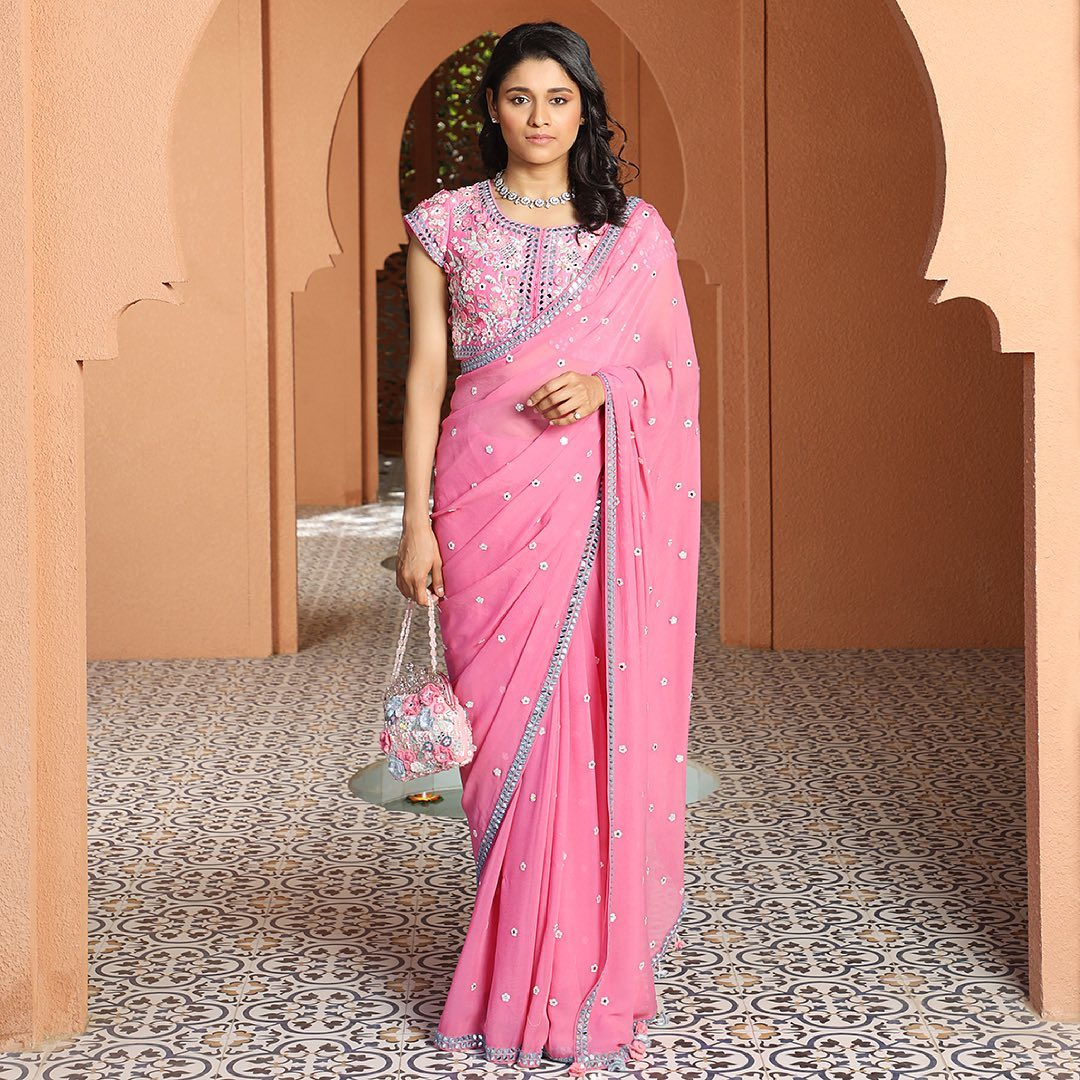 Stunning English pink color designer saree with hand embroidery work.   2021-05-30