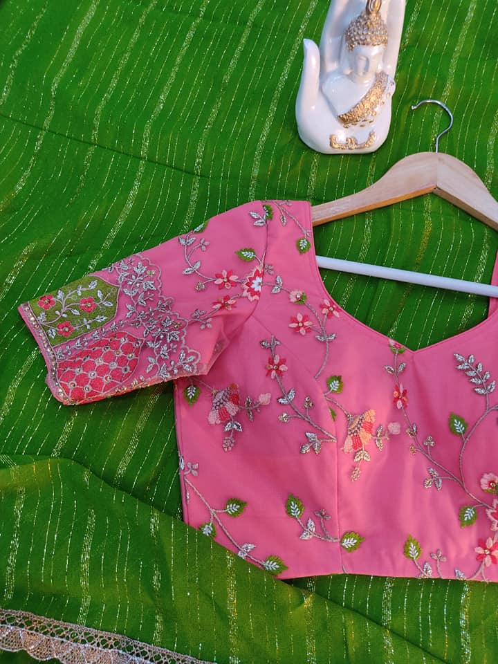 Mehandhi green Pure Georgette saree paired up with nice peach embroidery blouse.  Blouse sizes can be customized.  Price : 4300/- To order contact  on whatsapp : 9701673187. 2021-05-30