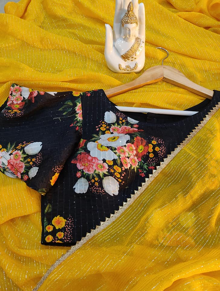 Beautiful Mango Yellow Pure Georgette saree paired up with Nice floral embroidery blouse.  Blouse sizes can be customized.  Price : 3800/- To.oree contact us on whatsapp : 9701673187 2021-05-30