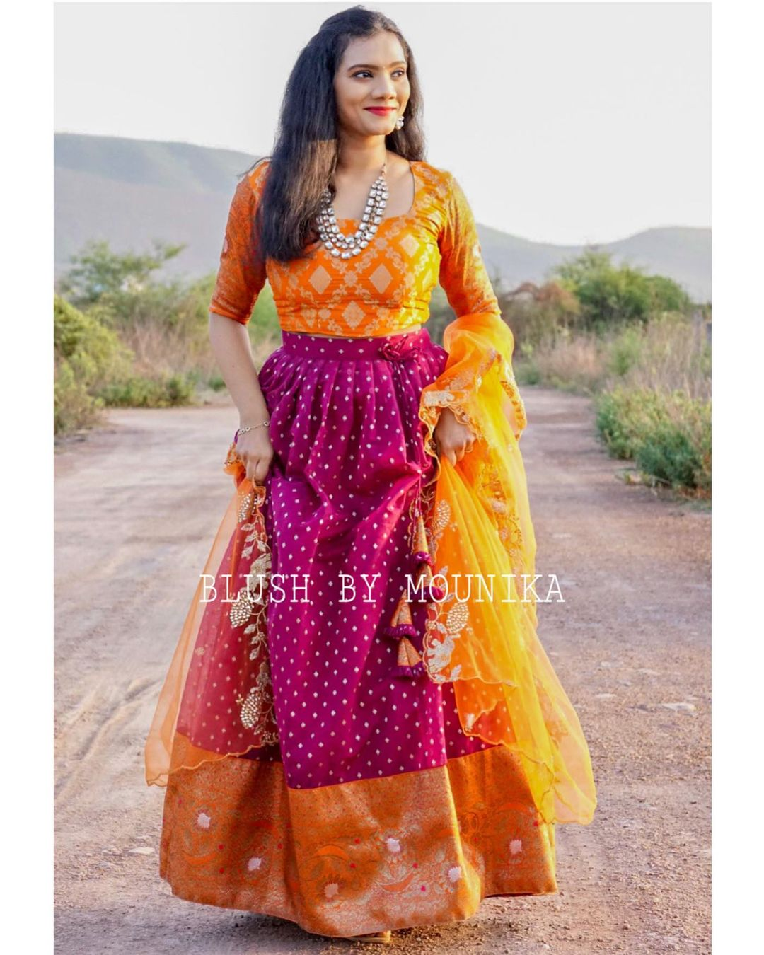 Pruple Chanderi. Price : ₹7200/- Purple Chanderi Lehenga with Banaras Border and Banaras Brocade Crop top paired with net cut work dupatta.  Can Can attached to the flare and finished with double lining. 2021-05-30