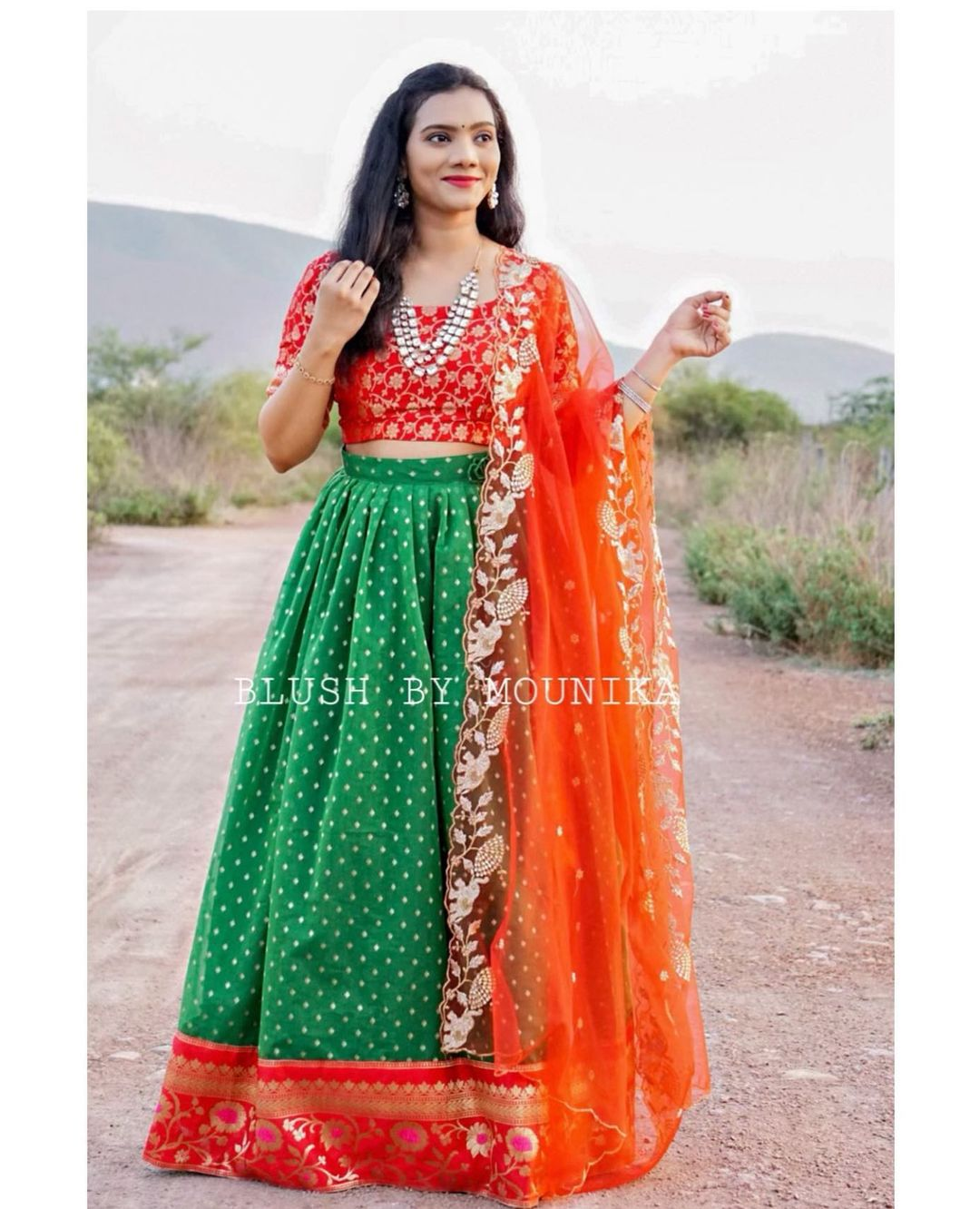 Pruple Chanderi. Price : ₹7200/- green Chanderi Lehenga with Banaras Border and Banaras Brocade Crop top paired with net cut work dupatta.  Can Can attached to the flare and finished with double lining. 2021-05-30