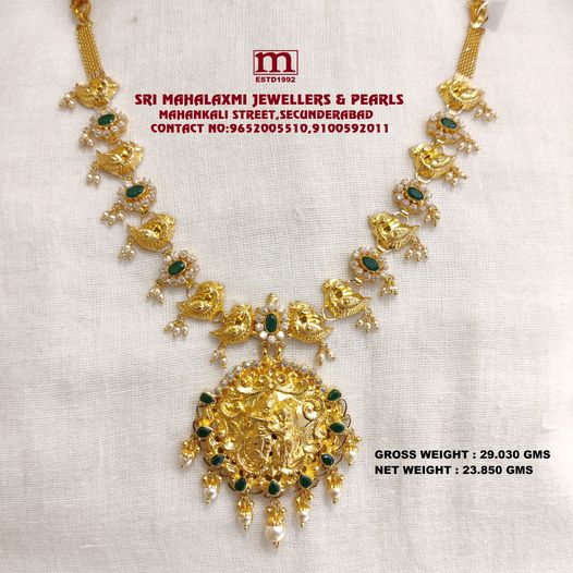 Light Weight New Collection Added Radha Krishna Necklace Studded With Emerald Cz's and Pearls. 2021-06-01