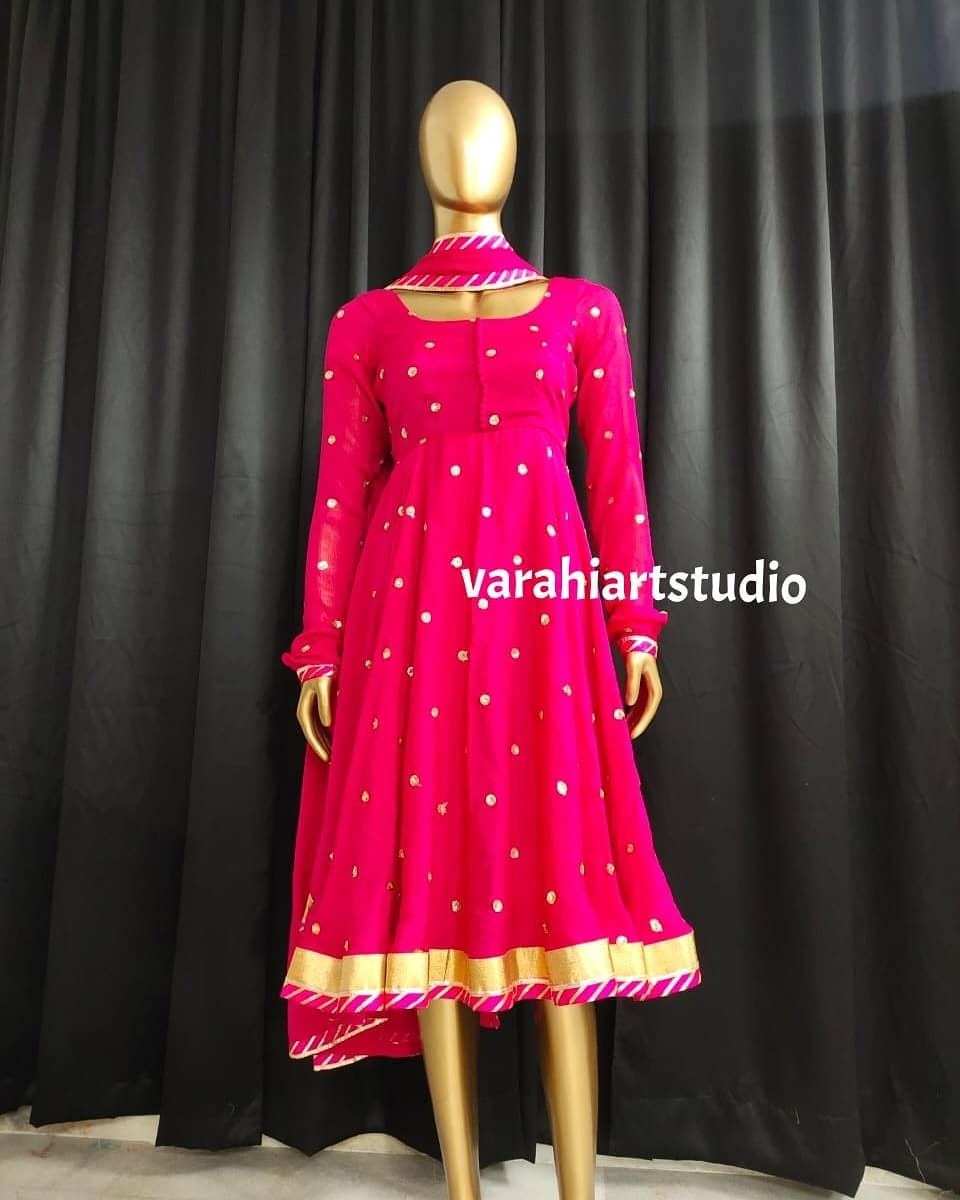 Beautiful pink color knee length dress with full sleeves and dupatta. 2021-06-01