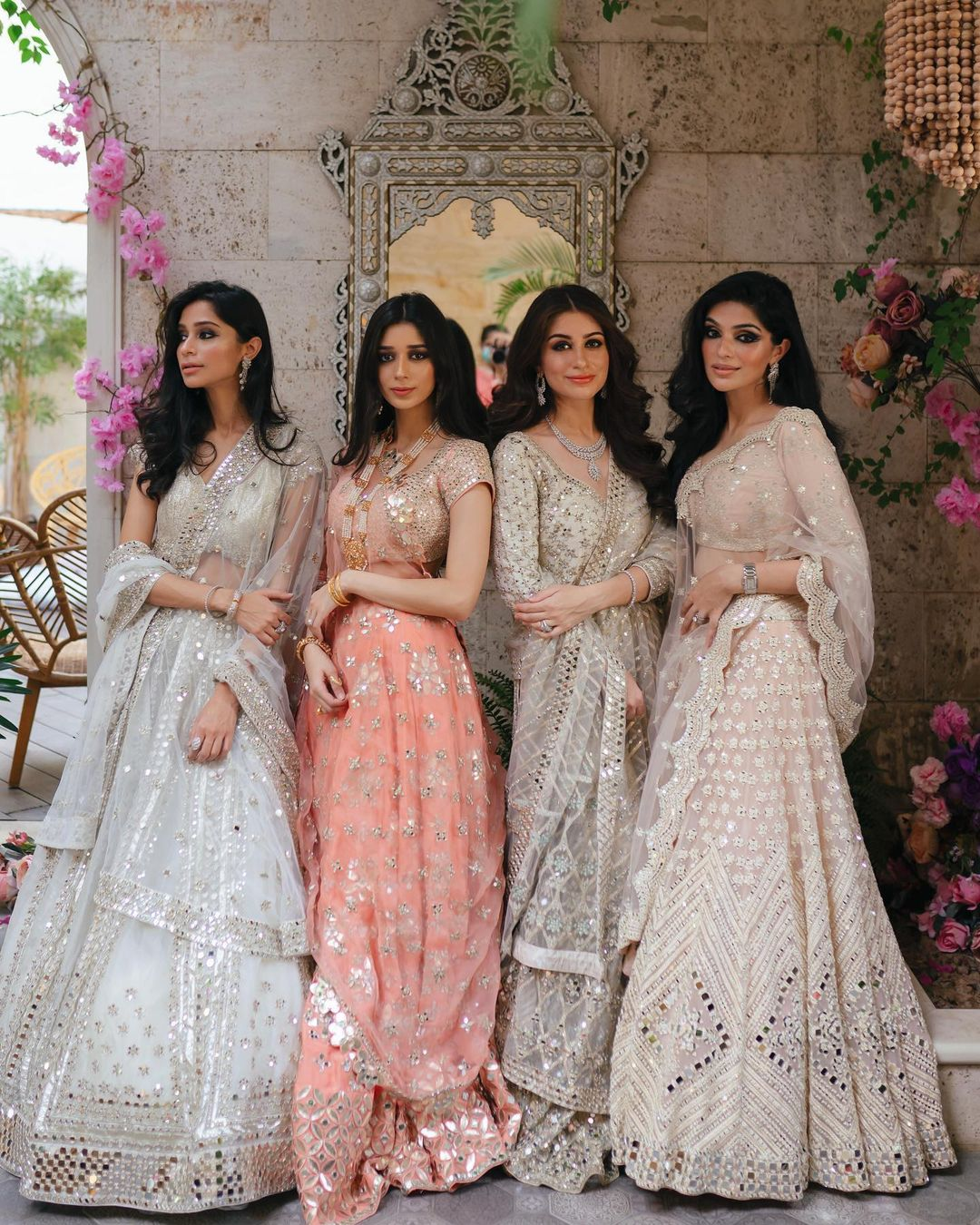 Jashn-E-Bahaar  Starry eyed bridesmaids in a floral garden right out of paradise a courtyard of a thousand cascading florals and all things everlasting love. The beautiful Sufi sisters dressed in Abhinav Mishra couture celebrating togetherness and sisterhood <3 2021-06-02