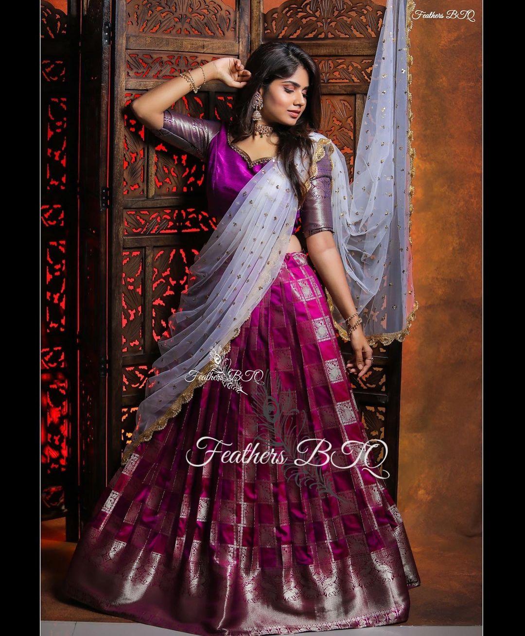 Beautiful purple pattu lehenga and blouse with net dupatta. 2021-06-02