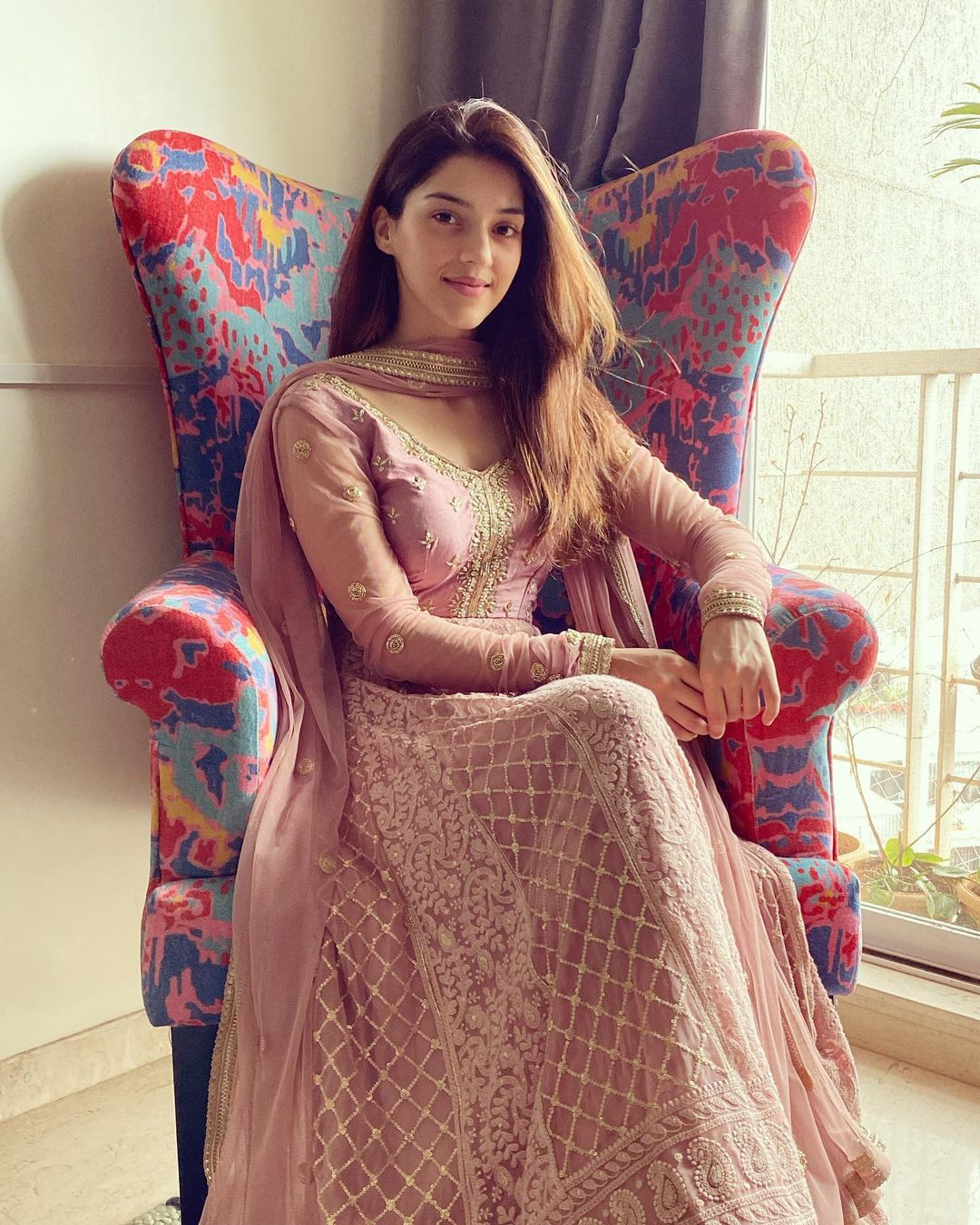 Miss dressing up. Beautiful actress Mehreen in pink anarkali designed by  Bhumika grover.  2021-06-03