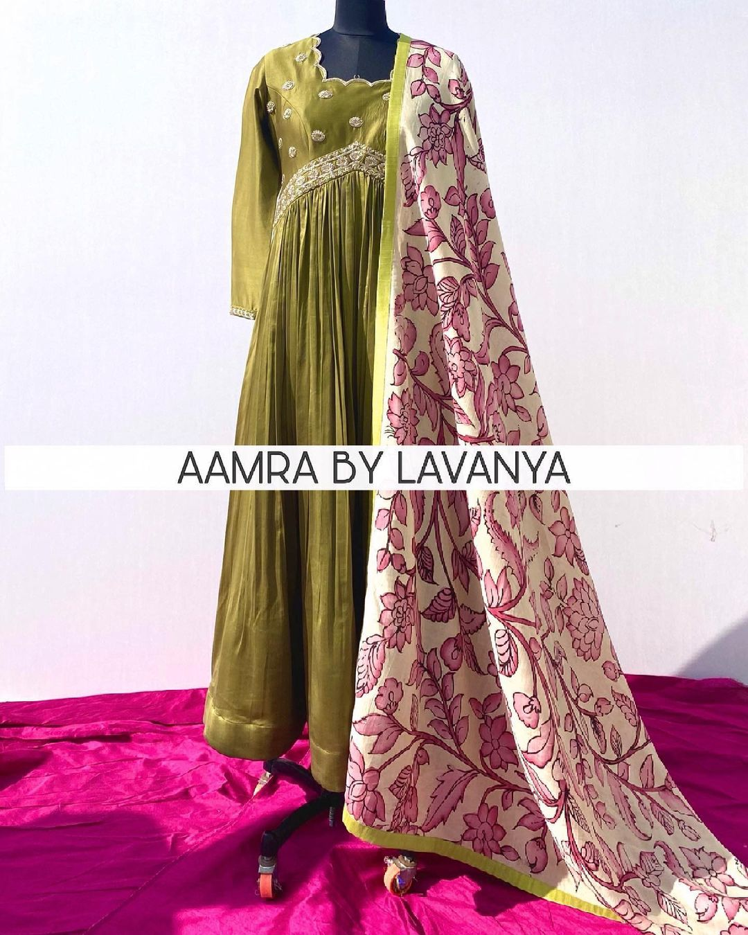 ~QALAM~  Olive green anarkali with intricate hand embroidered yoke teamed with hand painted pen kalamkari silk dupatta. For orders and queries call/whatsapp on +91-9177363970 2021-06-03