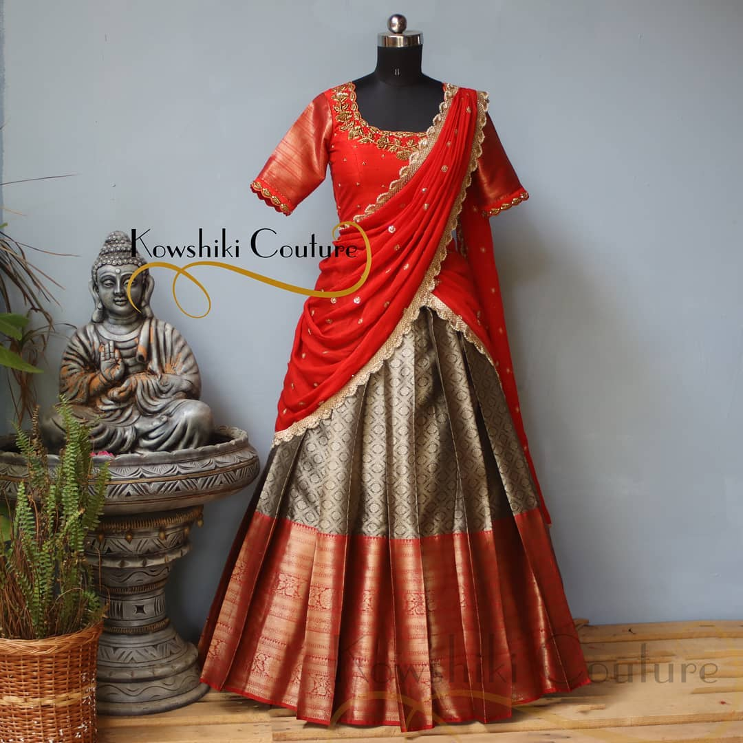 Ravishing Copper colour Lehenga paired up with Red handwork blouse and duppatta 2021-06-03
