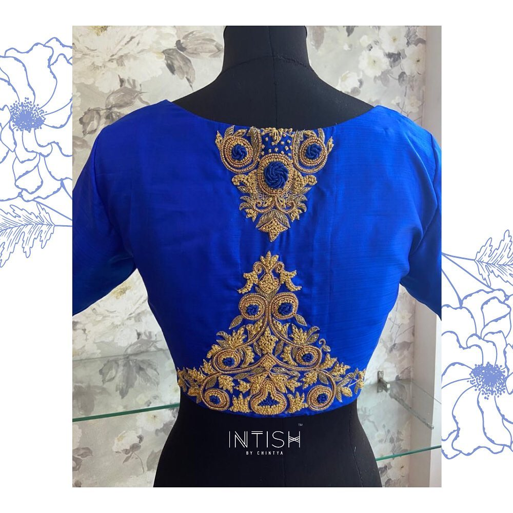 Raw silk blouse in royal blue detailed with french knots and  zardosi. 2021-06-04