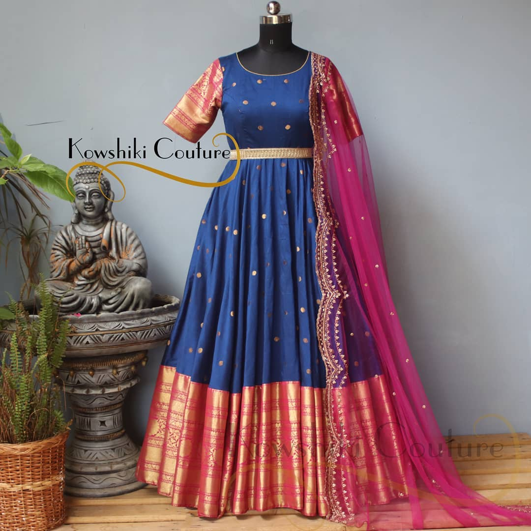 Pattu Long frock with heavy border paired up with cutwork duppatta! 2021-06-04