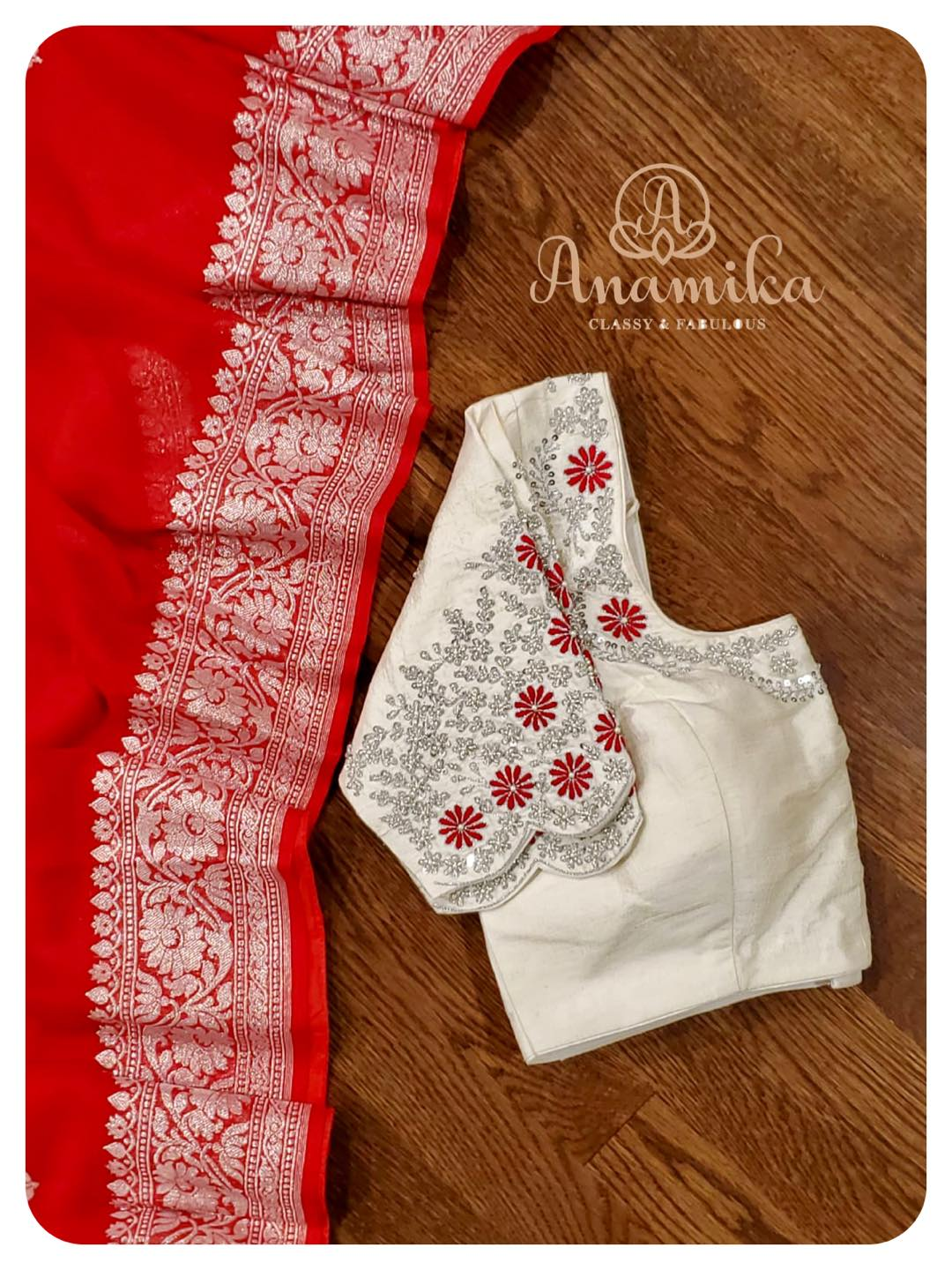 When in doubt wear RED !  A banarasi chiffon georgette saree with silver buttis and border - aptly paired with a contrast off-white blouse with intricately designed silver work. Casual gathering or a traditional event - this will be a perfect pick. ❤️ DM 360-545-3636 for inquiries 2021-06-05