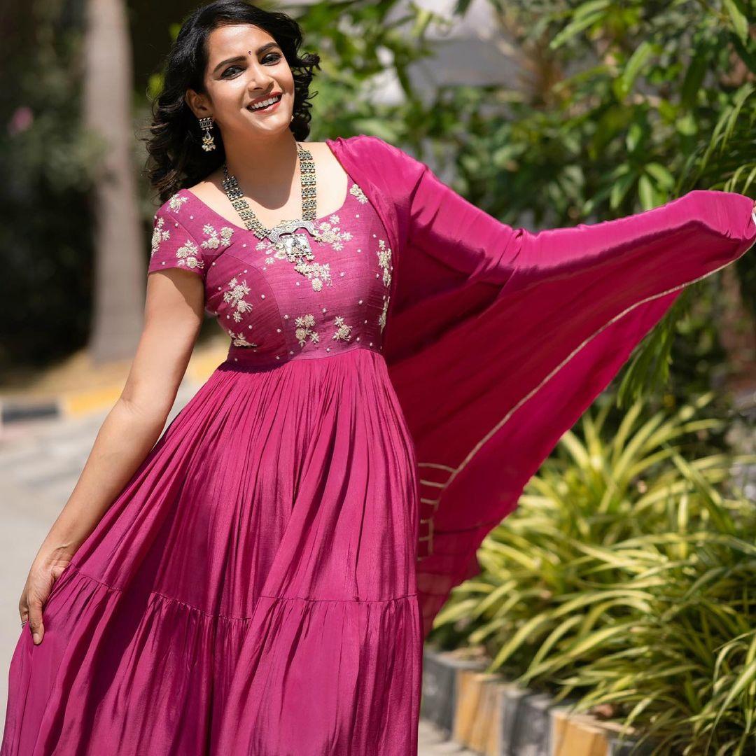 Beautiful actress Himaja in wine color floor length anarkali dress with hand embroidery work on yoke.  2021-06-05
