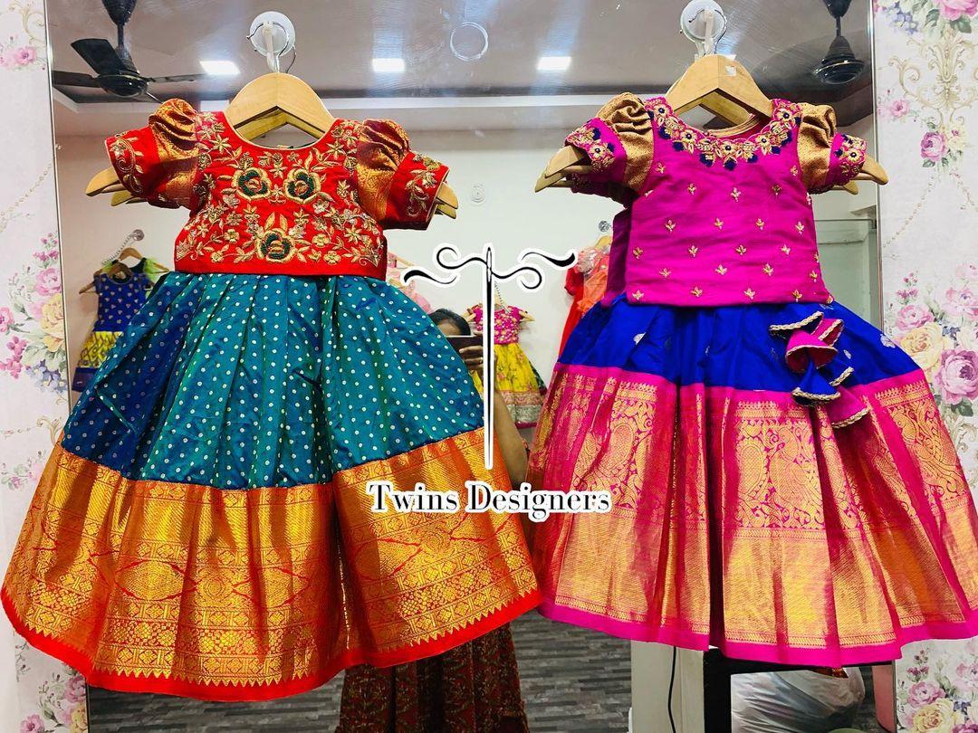 Stunning kids kanchi pattu langa and pavada. 2021-06-05