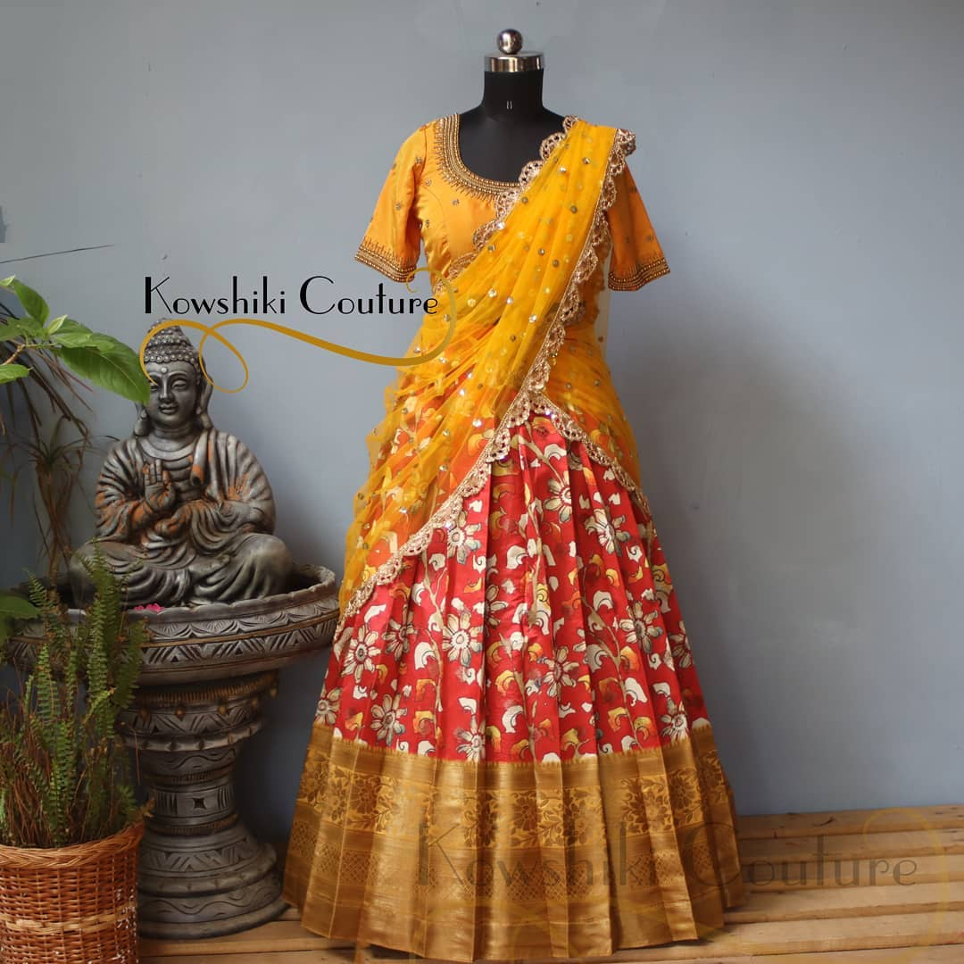 Unique Silk Floral Lehenga with golden border paired up with Yellow duppatta and Blouse! 2021-06-05