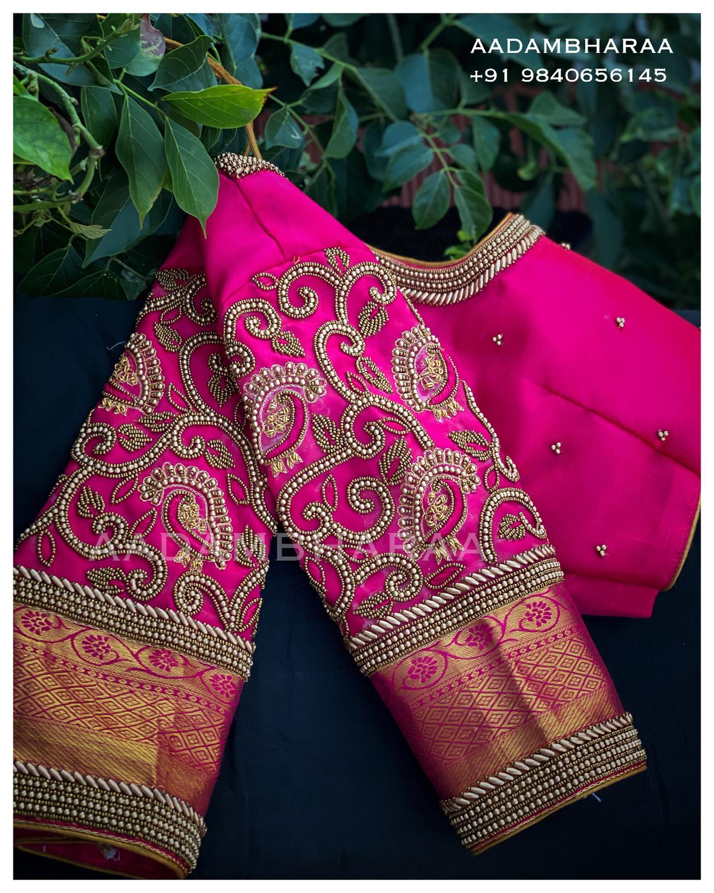 Showcase your style with an essence of tradition donning this versatile Pink blouse from Aadambharaa whose sleeve is decked with ethnic thread embroidery and bead work. 2021-06-06