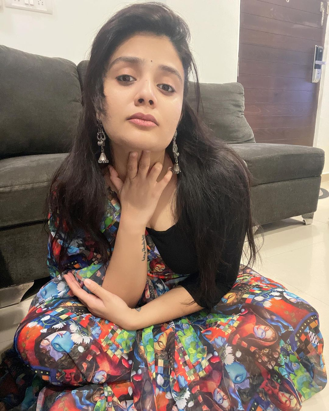 Beautiful actress Sreemukhi in digital print saree by Rekhas couture. 2021-06-06