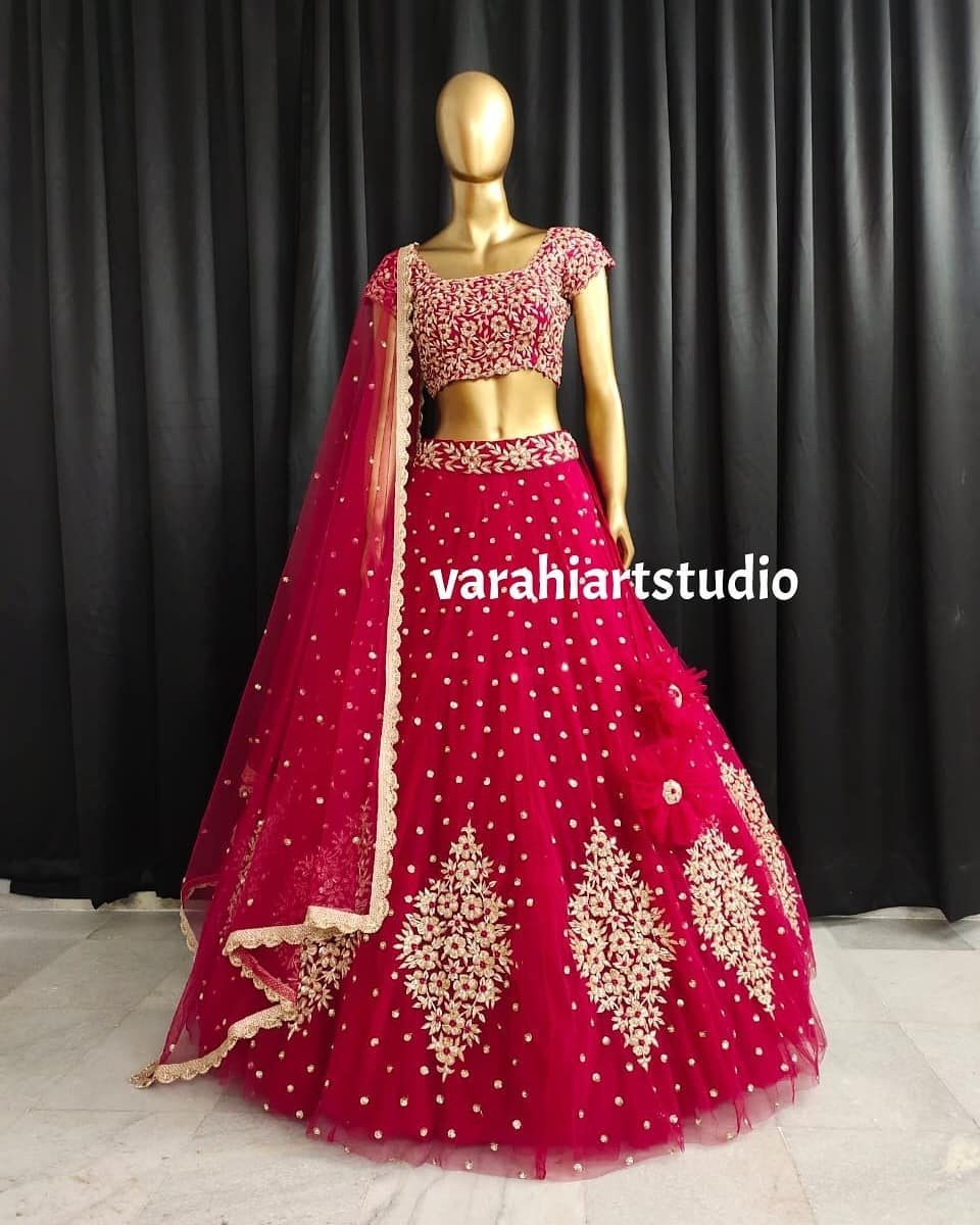 Hand crafted Bridal Lehengha. Stunning bridal tulle lehenga with hand embroidery work.  2021-06-06