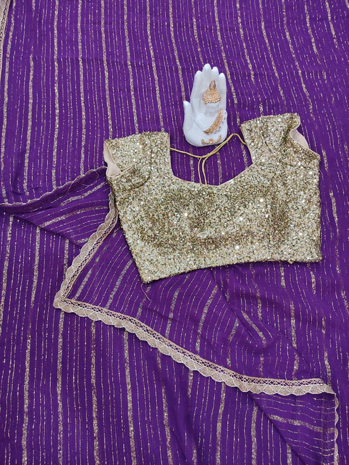 Purple Pure georgette saree paired up with Gold sequince blouse. Price : 4500/- To order contact  on whatsapp : 9701673187 2021-06-07