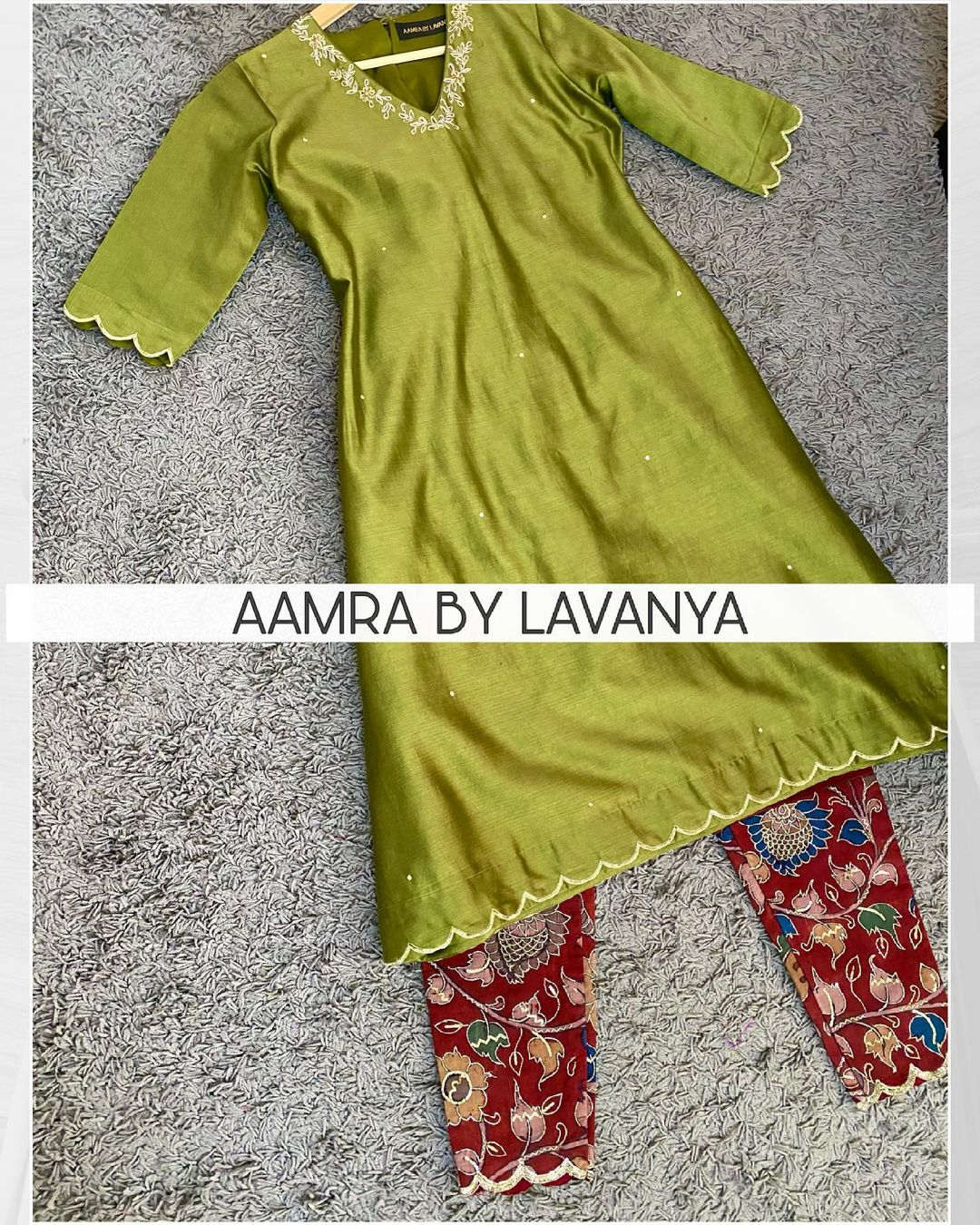 Hand painted pen kalamkari silk straight pants with hand embroidery paired with an all over hand embroidered tunic. For orders and queries call/whatsapp on +91-9177363970 2021-06-07