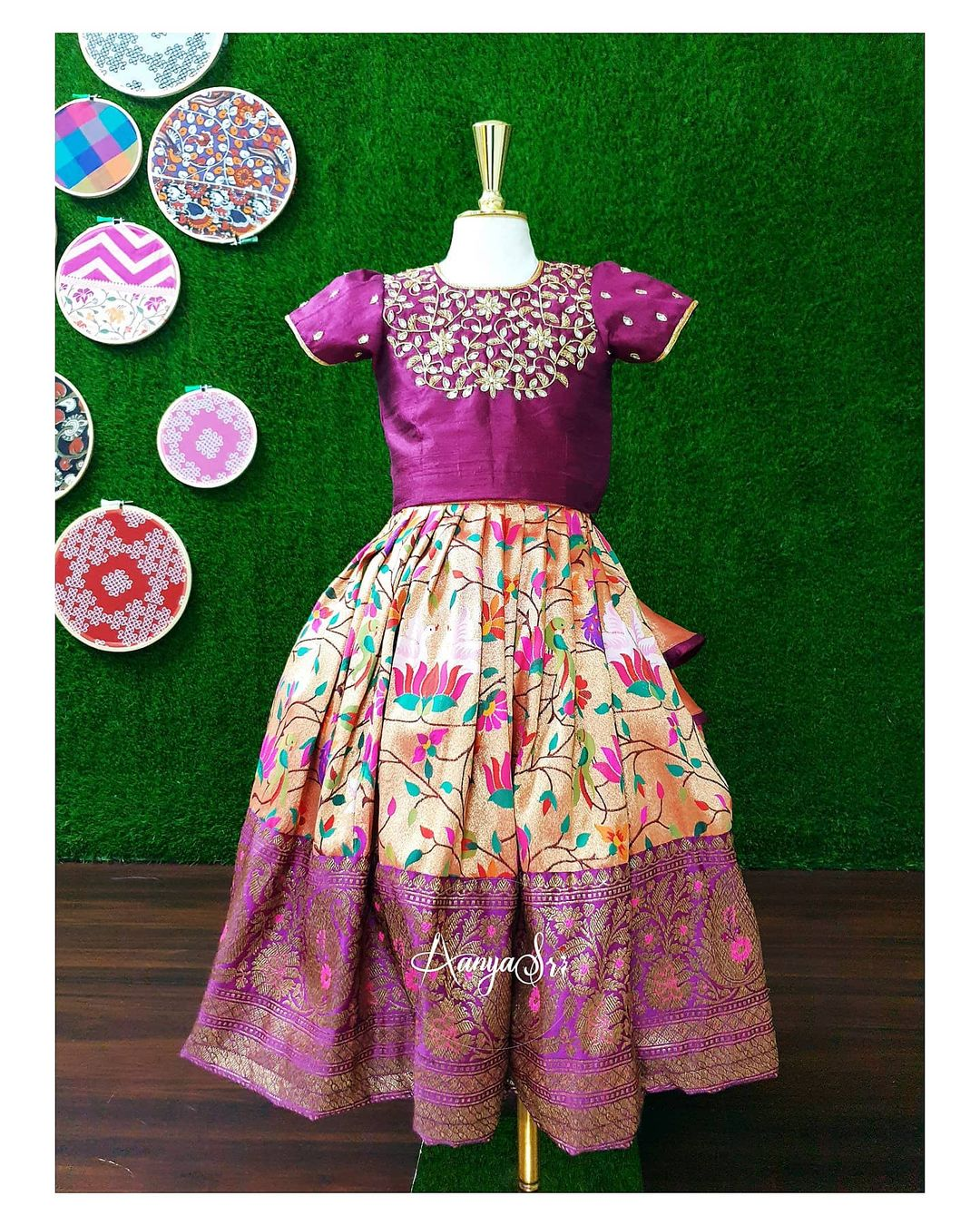 Tamara RS. 5300 – RS. 6700/- Purple lotus design paithani pavada with intricate hand embroidery and a rich traditional border. 2021-06-07