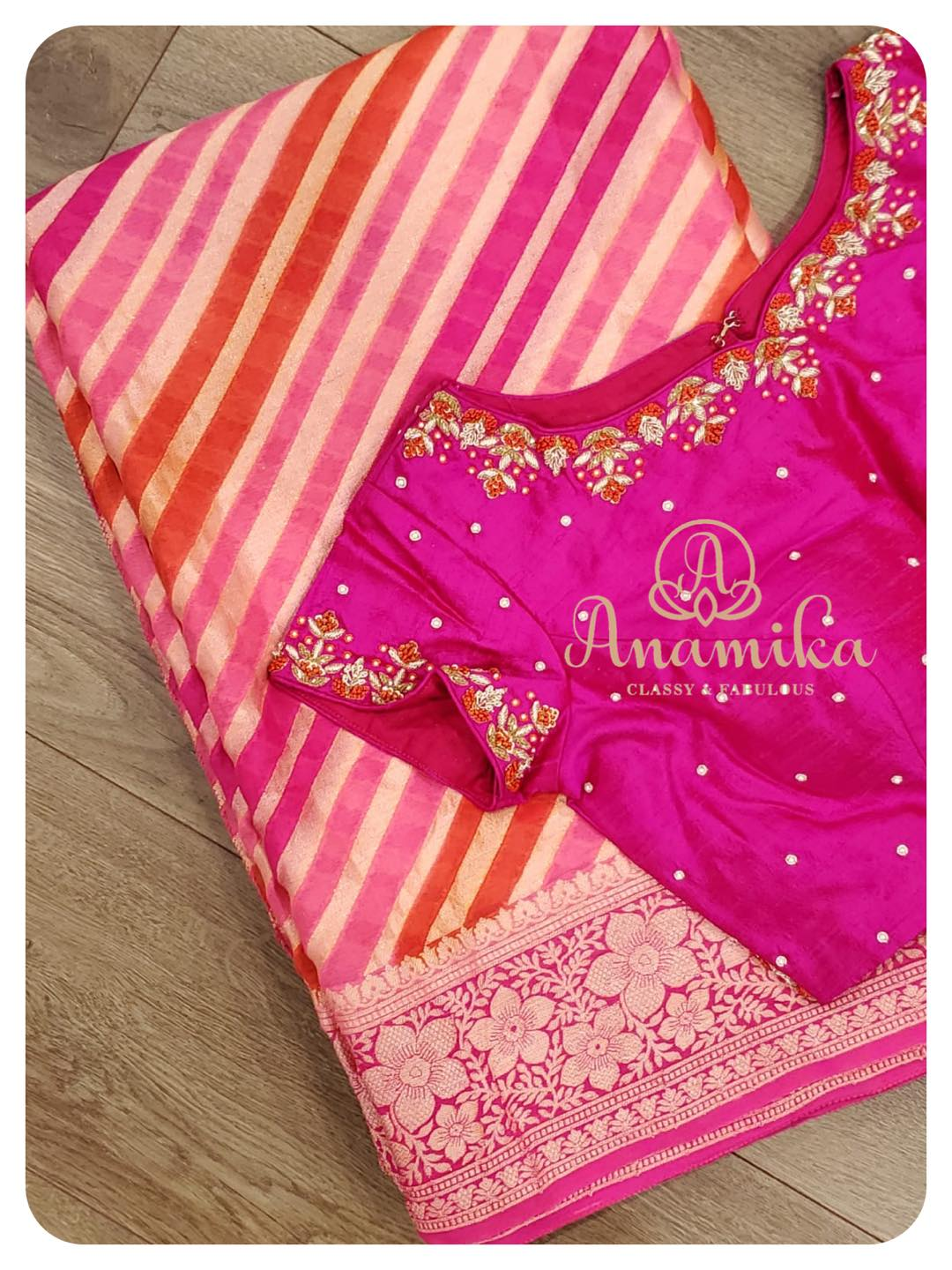 A beautiful pink shaded chiffon saree with a Banarasi border and pallu.  Beautifully designed Contrast pink rawsilk work blouse adds a ton of beauty to this outfit  DM 360-545-3636 or 425-598-6797 for inquiries 2021-06-08