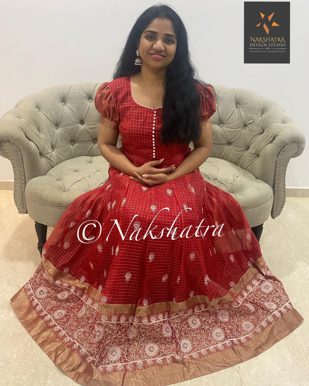 red color Organza checks long frock with chikankari work paired with beautiful white net embroidered dupatta. 2021-06-08