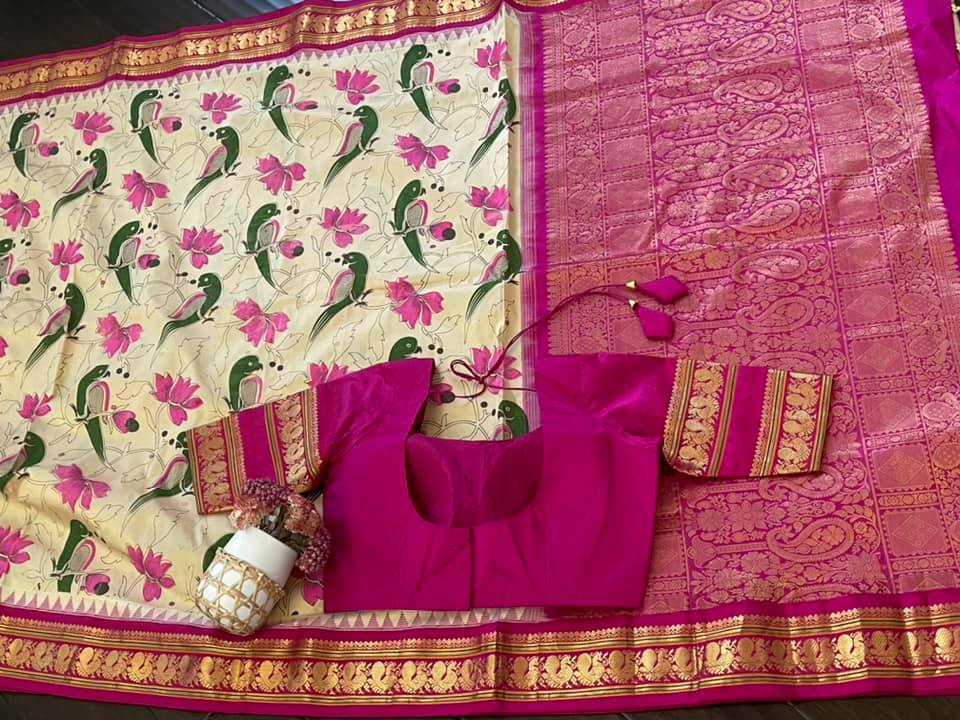 Type: Gadwal Silk   Description:  Beige Gadwal pattu Saree with digital print with bright Pink border and pink pallu   complemented with Pink Patterned saree blouse Exclusively available @Sarayu . Blouse: Yes Fall and Pico: Yes Inner Skirt : Yes Price : 275$ Blouse size : 38/40 ✨Beautiful and Bold Hues  ✨ 2021-06-08