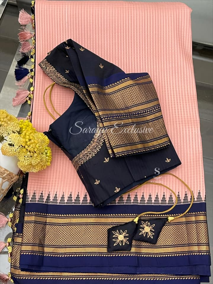 Type: Gadwal Silk saree. Description:   Flamingo Pink Gadwal Silk Saree with checks & temple border with complemented with anitique pallu and borders and also paired with saree pita handworked blouse  !! Exclusively available @Sarayu . Blouse: Yes Fall and Pico: Yes Inner Skirt : No  Price :  265 $  Blouse size : 38/40 ✨ Gadwal Silk in Beautiful Hues  ✨ 2021-06-08