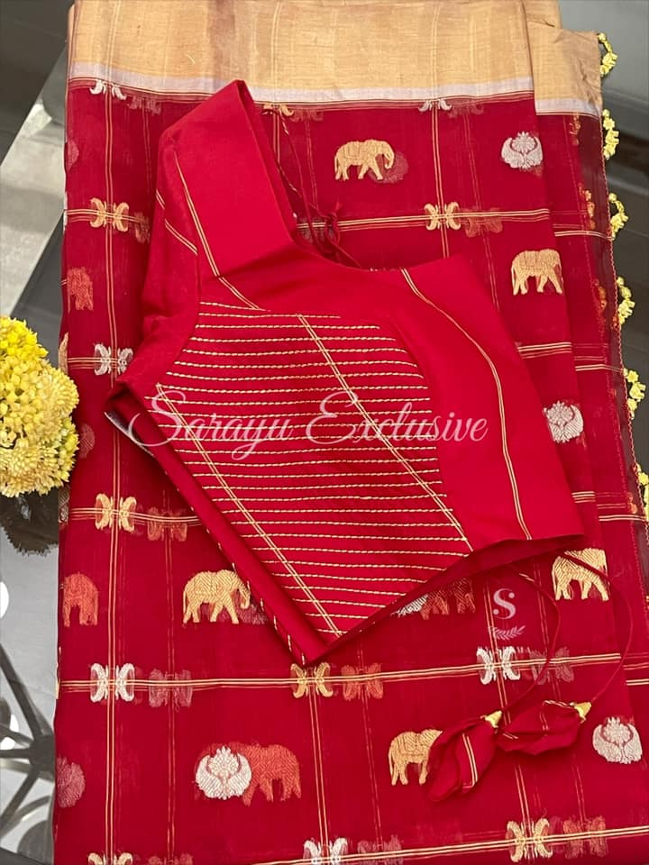 Type :  Pure Chanderi Silk sarees description: Red Pure checkered Chanderi silk with Beautiful silver and gold buti and kaddi zari borders complemented simple saree patterned saree blouse !!  *Price : 285* size 38/40 ! * Beautiful   And bright light weight exclusive design chanderi Saree * 2021-06-08