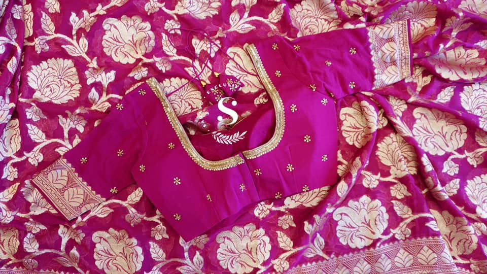 Type: Banaras Georgette  Description: Pure Premium Quality magenta pink Banras Georgette  all over Jamal complemented With saree handworked blouse !! Exclusively available @Sarayu . Blouse: Yes Fall and Pico: Yes Inner Skirt :yes  Tassels : Yes  Price : 325$ Delivery : June 22nd week  ✨ Georgette lovers can't miss these beautiful and bright saree ✨ 2021-06-08