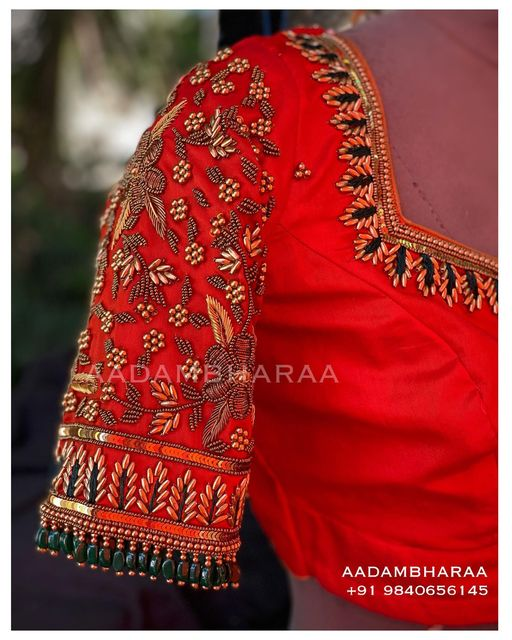 Stunning orange color bridal blouse design with floral hand embroidery bead aari woork.  2021-06-08