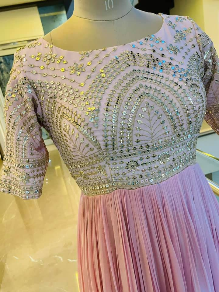 Stunning blush pink color long frock with hand embroidery work on yoke.  2021-06-09
