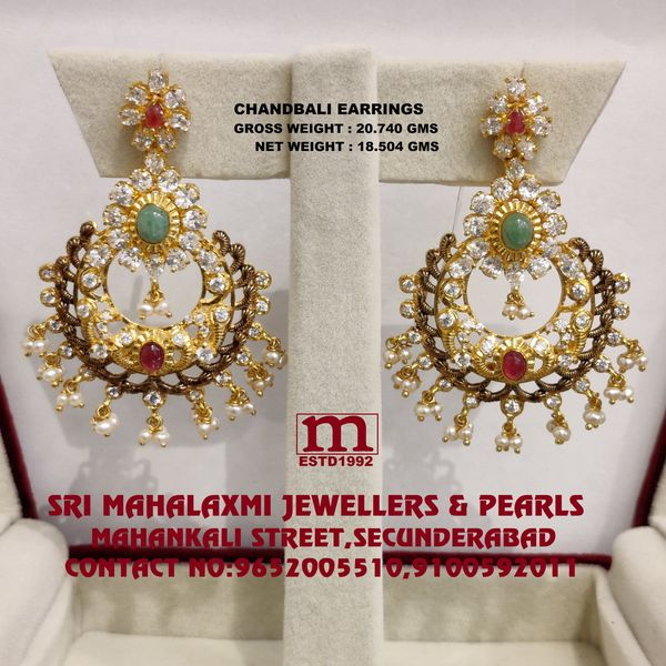 New Collection Added Chandballi Earrings Pachi Cz`s Workmanship Studded with Ruby Emerald  Cz  and South Sea Pearls made 22KT BIS HALLMARK Gold visit SHOWROOM FOR FULL RANGE OF Collection please call us on WHATSAPP VIDEO CALL NO. 9100592011 9652005510           2021-06-09