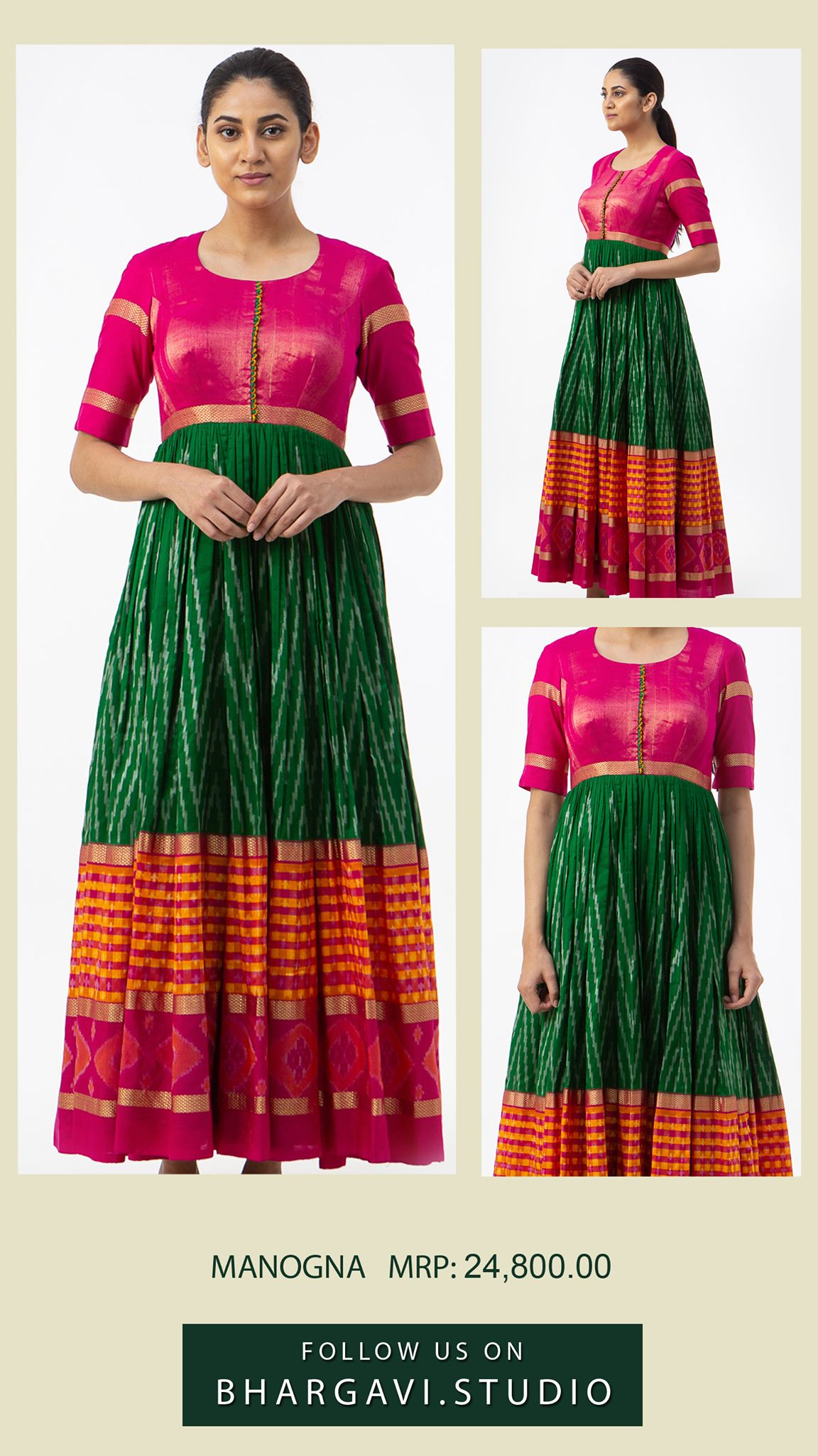 Beautiful pink and green color combination ikkat long frock.  2021-06-09