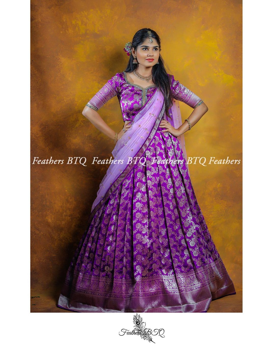 Stunning purple color pattu lehenga and blouse with lavender net dupatta. 2021-06-09