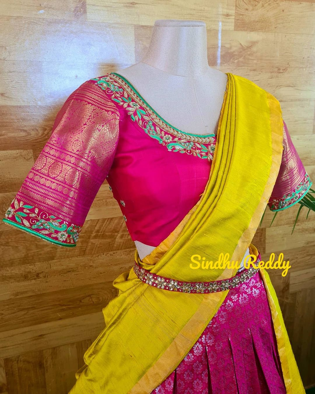 Gorgeous traditional yellow and pink color combination kanchi pattu lehenga and blouse with dupatta.  2021-06-09