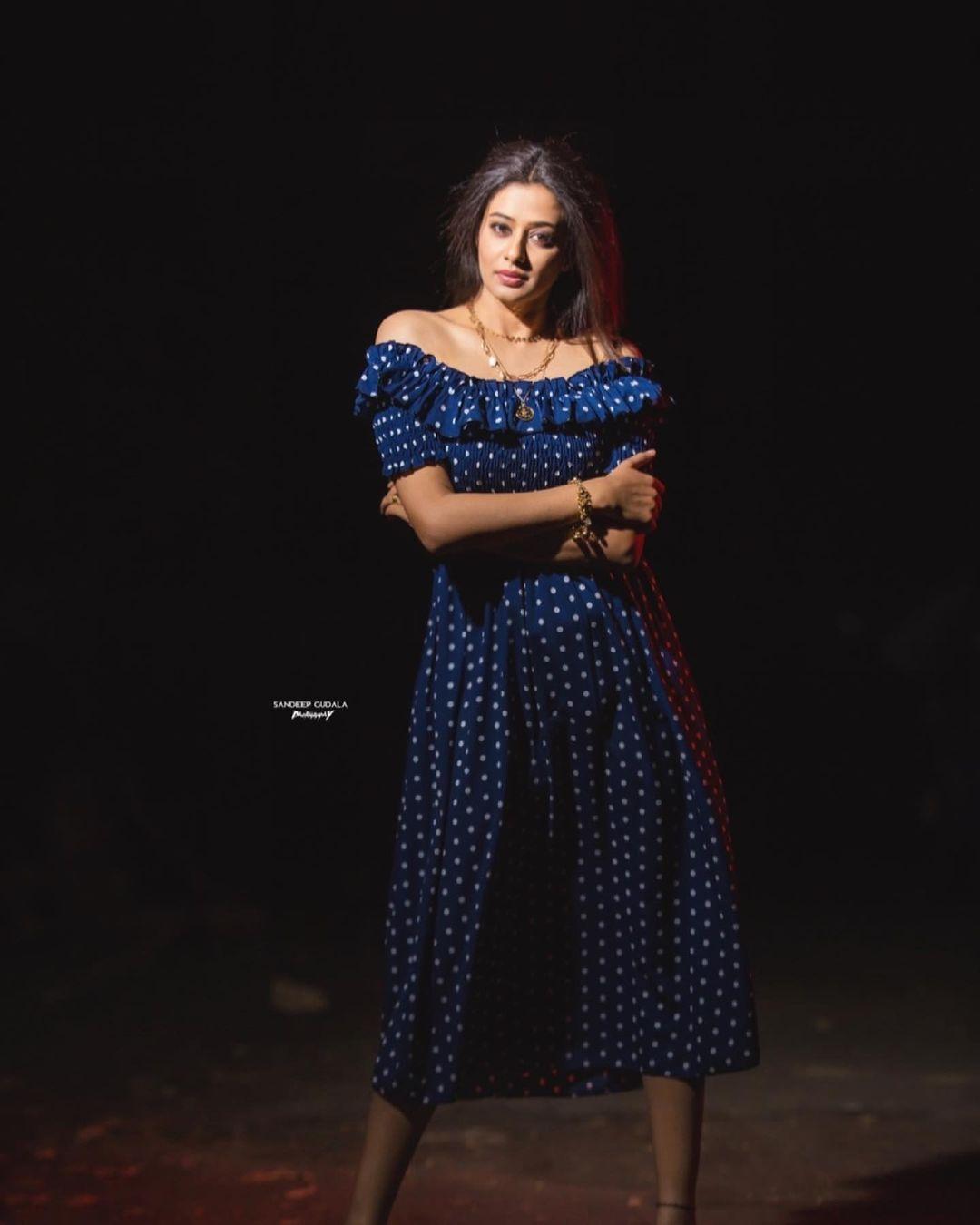 Beautiful actress Priyamani in off shoulder polka sots floor length dress. 2021-06-09